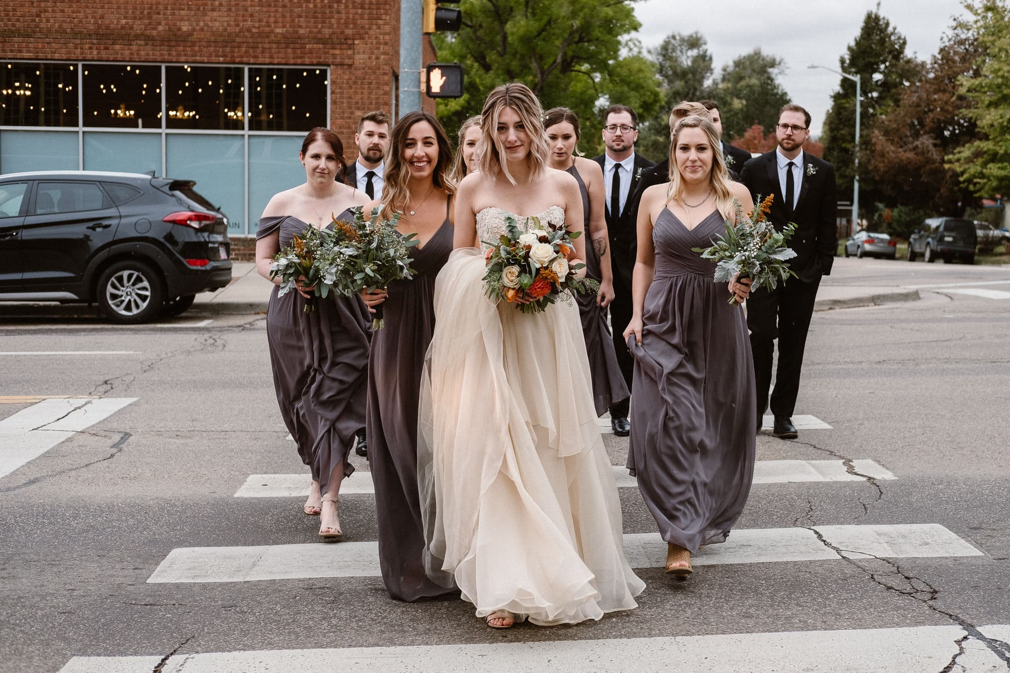 St Vrain Wedding Photographer | Longmont Wedding Photographer | Colorado Winter Wedding Photographer, Colorado industrial chic wedding, bride with bridesmaids, Marchesa wedding dress, gray bridesmaid dresses