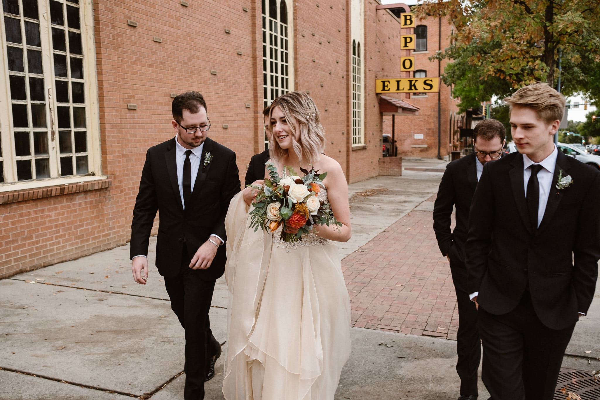 St Vrain Wedding Photographer | Longmont Wedding Photographer | Colorado Winter Wedding Photographer, Colorado industrial chic wedding, bride and groom with wedding party