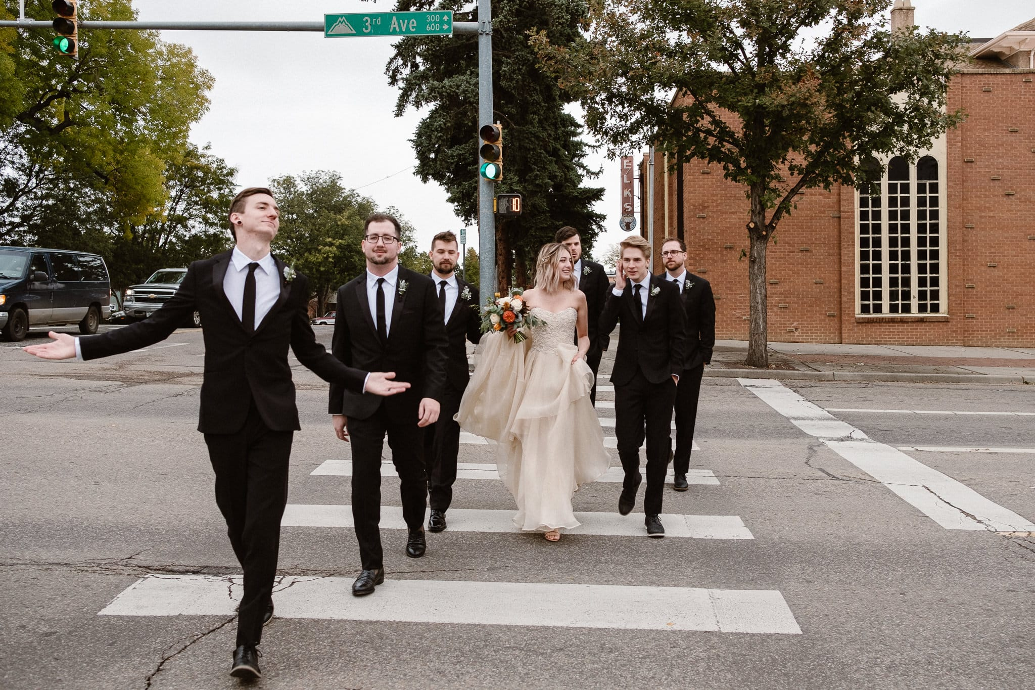 St Vrain Wedding Photographer | Longmont Wedding Photographer | Colorado Winter Wedding Photographer, Colorado industrial chic wedding, bride and groom with wedding party