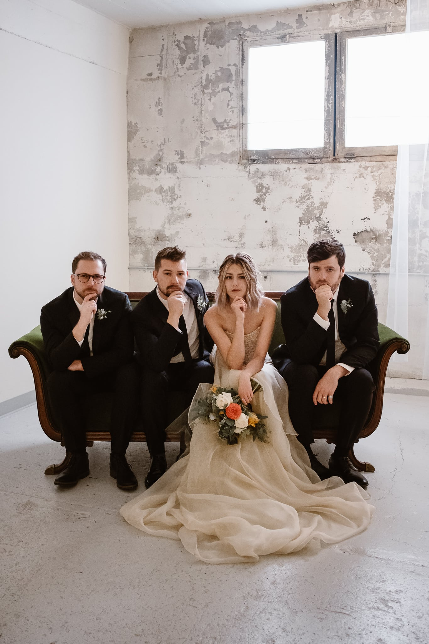 St Vrain Wedding Photographer | Longmont Wedding Photographer | Colorado Winter Wedding Photographer, Colorado industrial chic wedding, bride and groom with wedding party, Wildermiss band photo