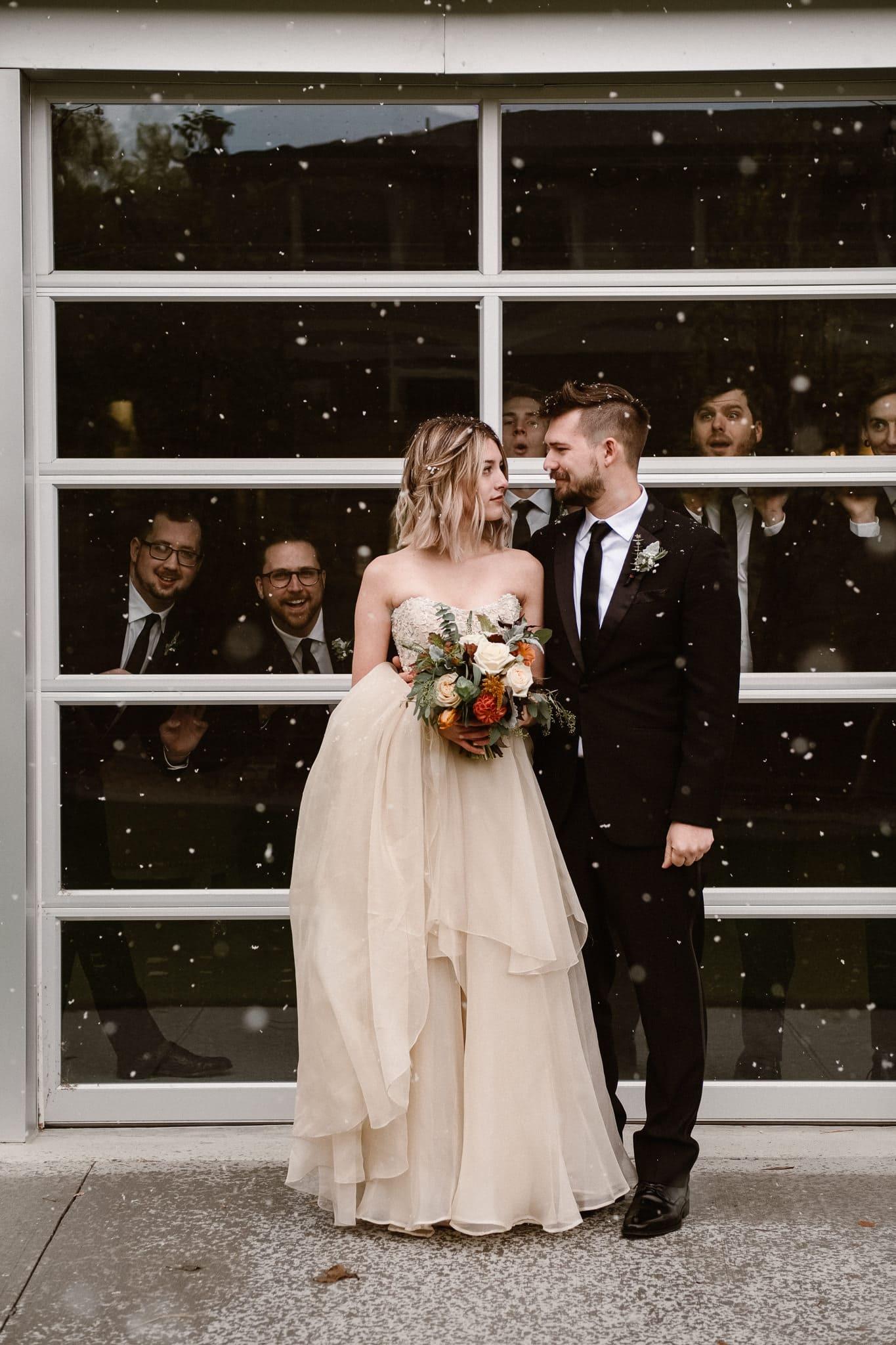 St Vrain Wedding Photographer | Longmont Wedding Photographer | Colorado Winter Wedding Photographer, Colorado industrial chic wedding, bride and groom portraits, silly groomsmen