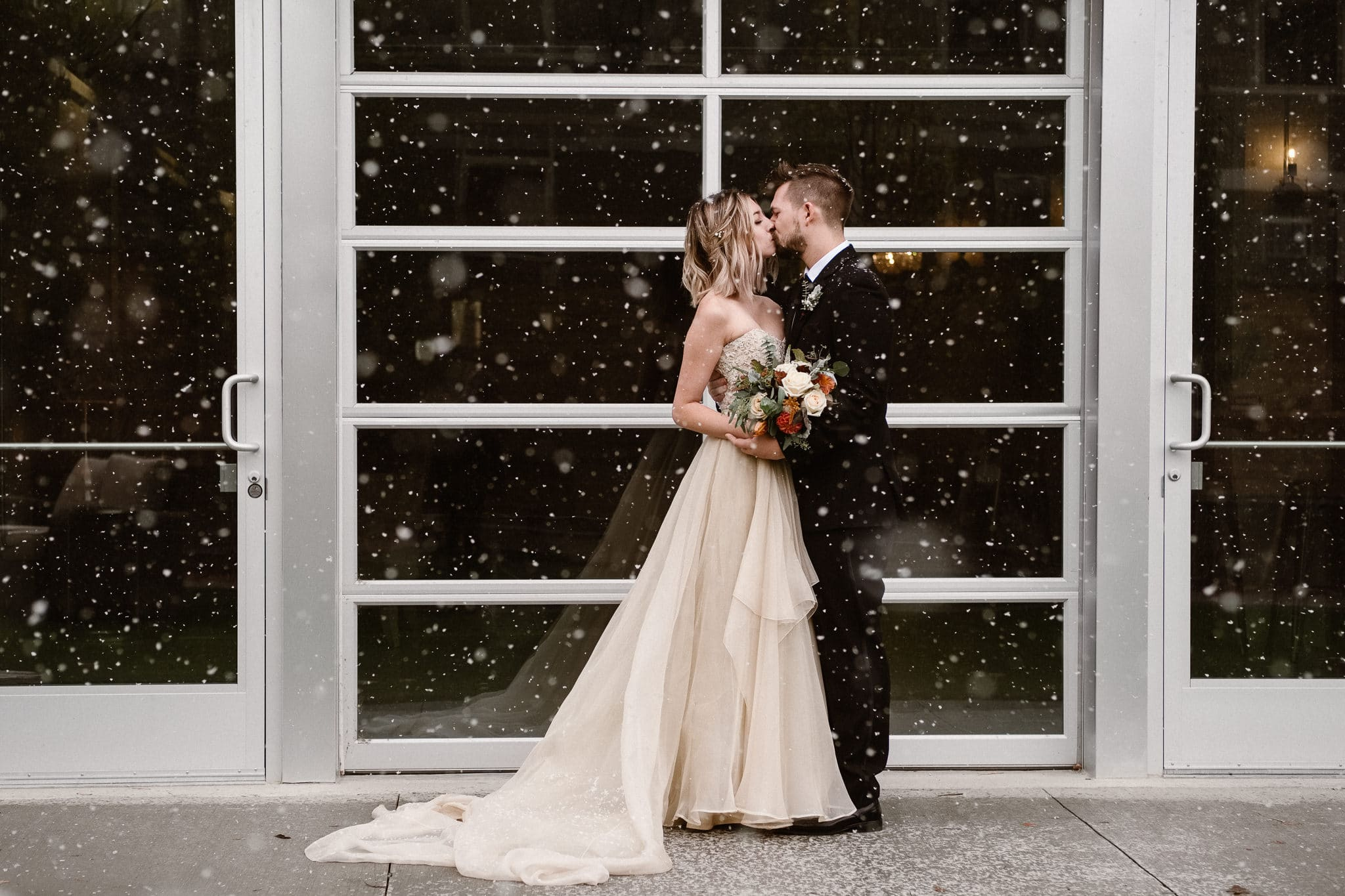 St Vrain Wedding Photographer | Longmont Wedding Photographer | Colorado Winter Wedding Photographer, Colorado industrial chic wedding, bride and groom portraits in snow