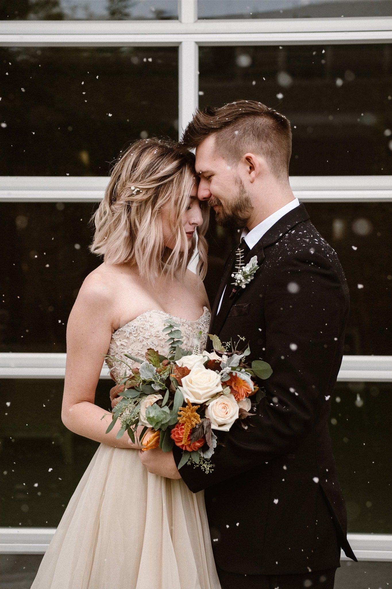 St Vrain Wedding Photographer   Longmont Wedding Photographer   Colorado Winter Wedding Photographer, Colorado industrial chic wedding, bride and groom portraits in snow