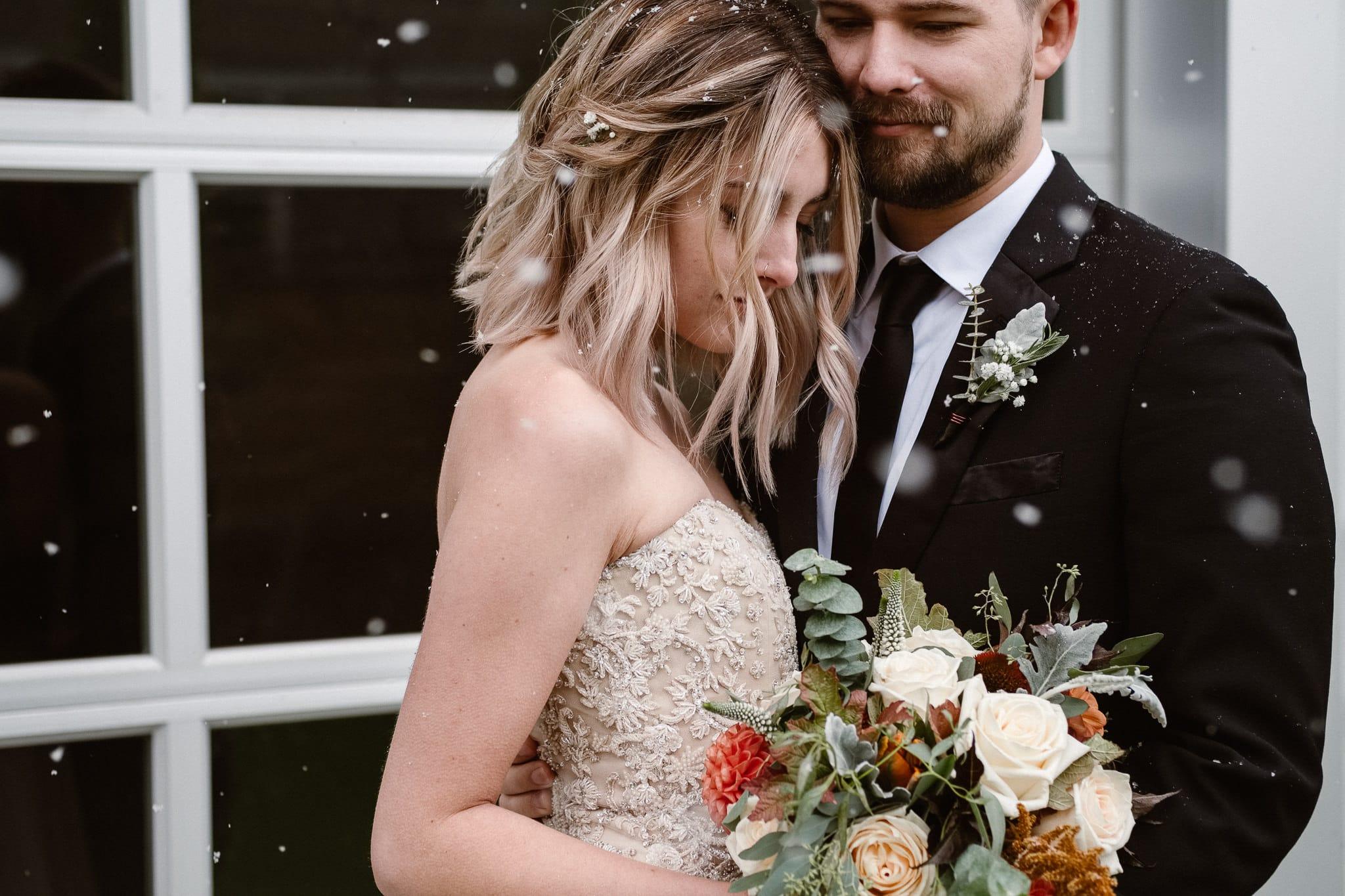 St Vrain Wedding Photographer | Longmont Wedding Photographer | Colorado Winter Wedding Photographer, Colorado industrial chic wedding, bride and groom portraits in snow