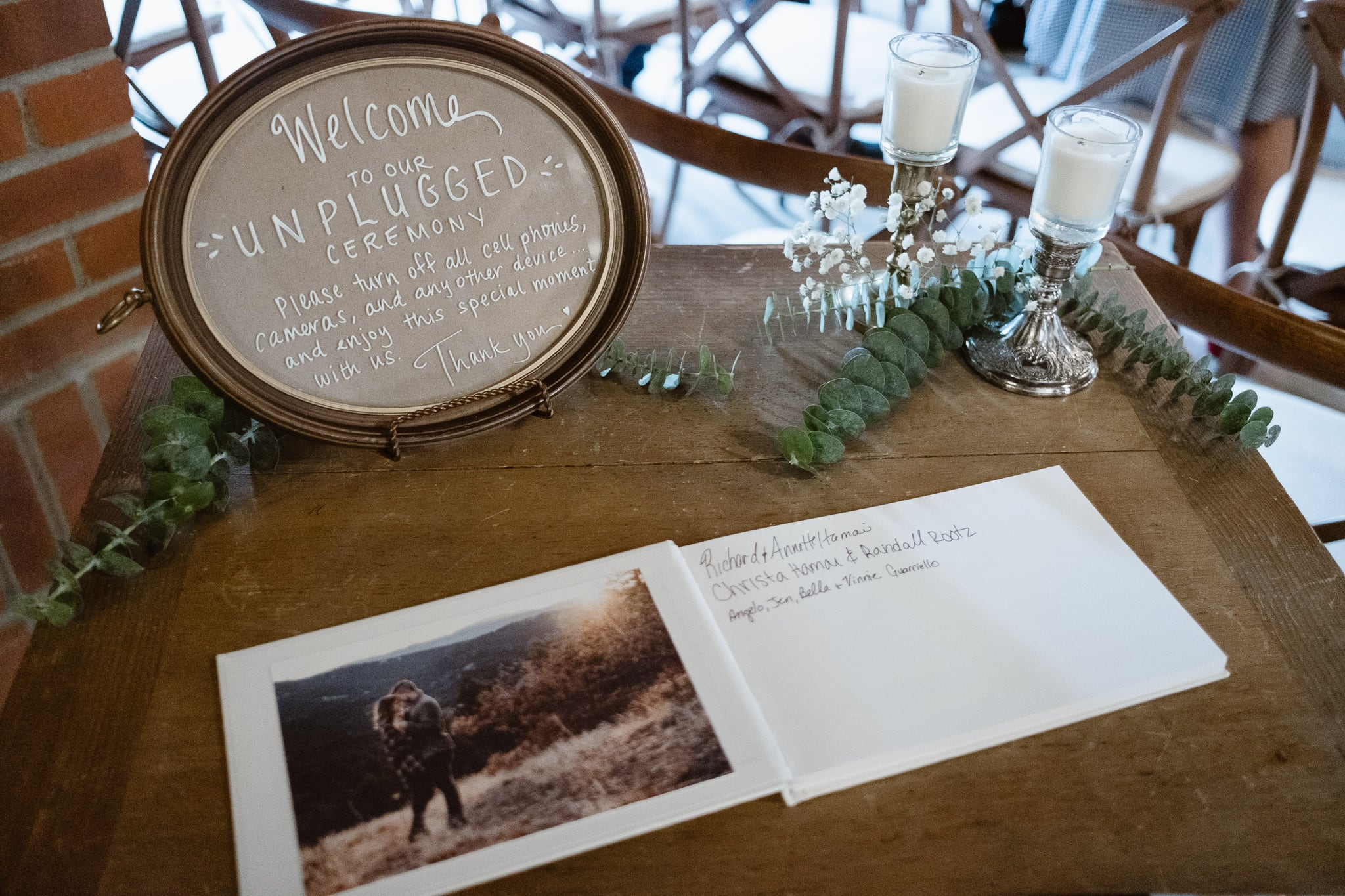 St Vrain Wedding Photographer | Longmont Wedding Photographer | Colorado Winter Wedding Photographer, Colorado industrial chic wedding, wedding guest book, unplugged wedding sign