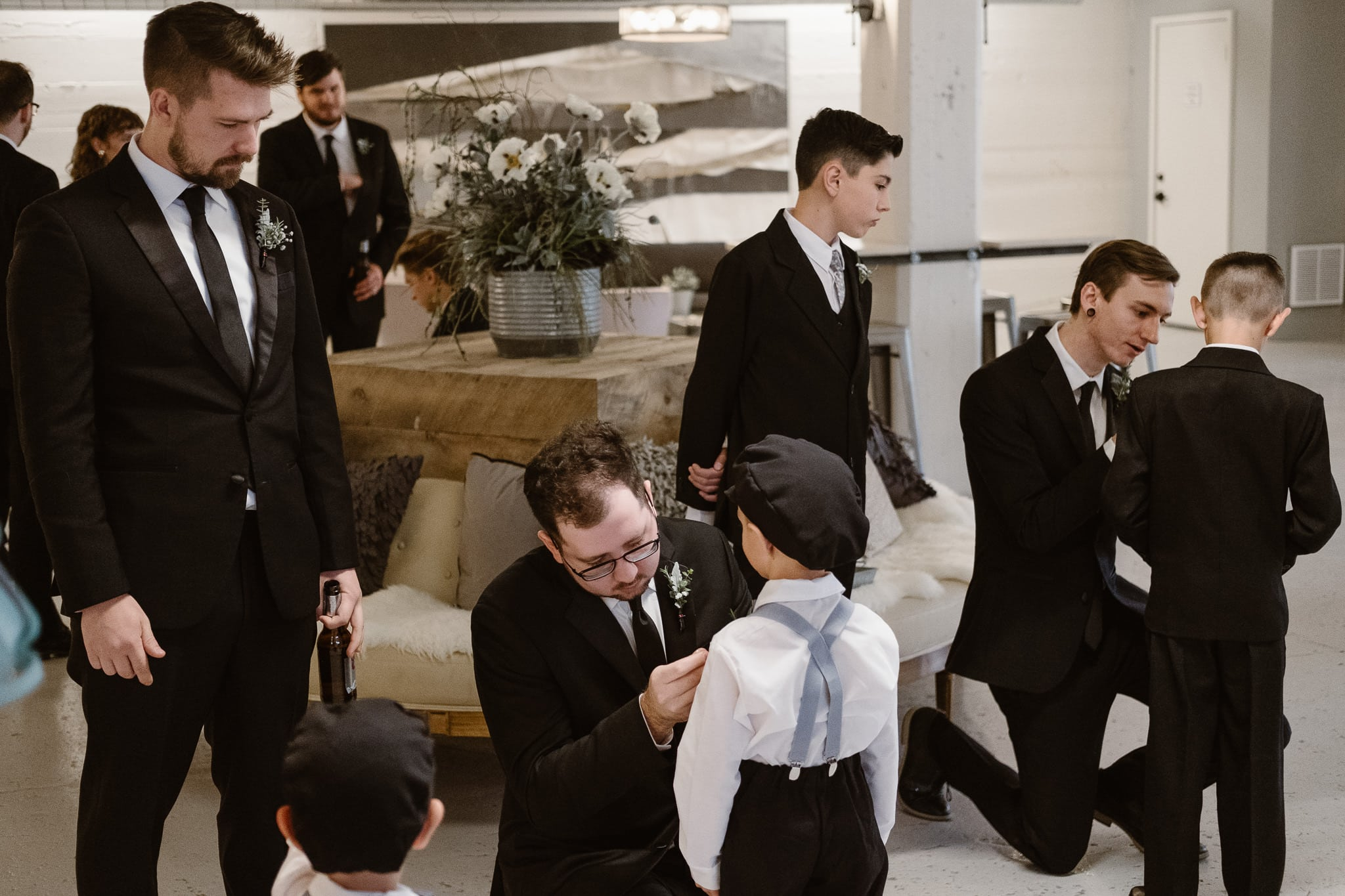 St Vrain Wedding Photographer | Longmont Wedding Photographer | Colorado Winter Wedding Photographer, Colorado industrial chic wedding, groomsmen hanging out