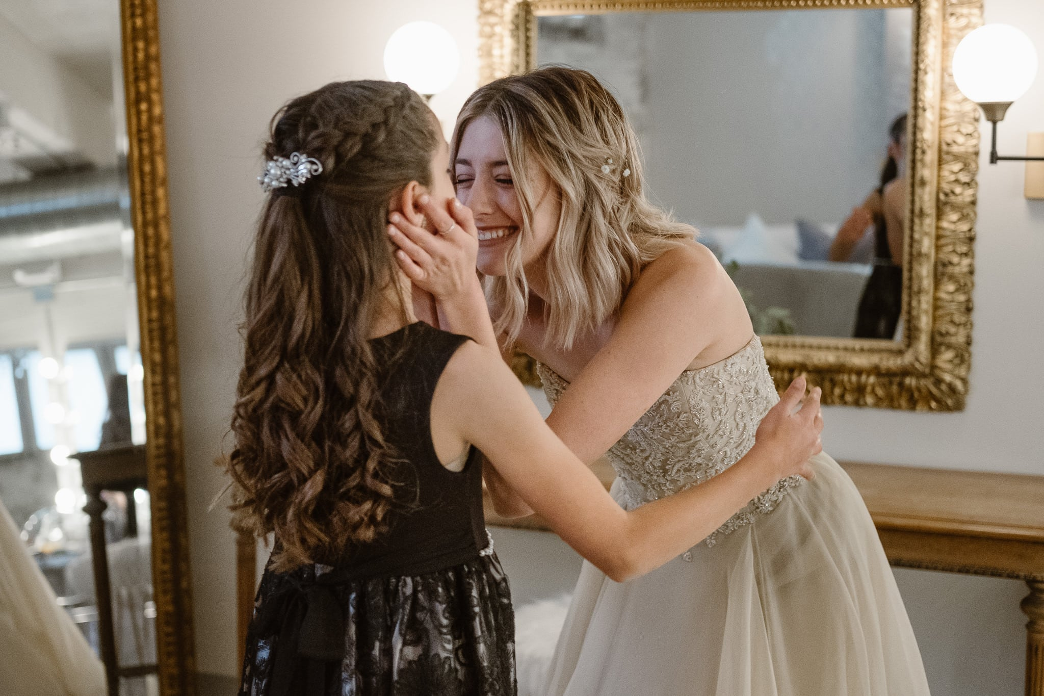 St Vrain Wedding Photographer | Longmont Wedding Photographer | Colorado Winter Wedding Photographer, Colorado industrial chic wedding, bride with her little sister