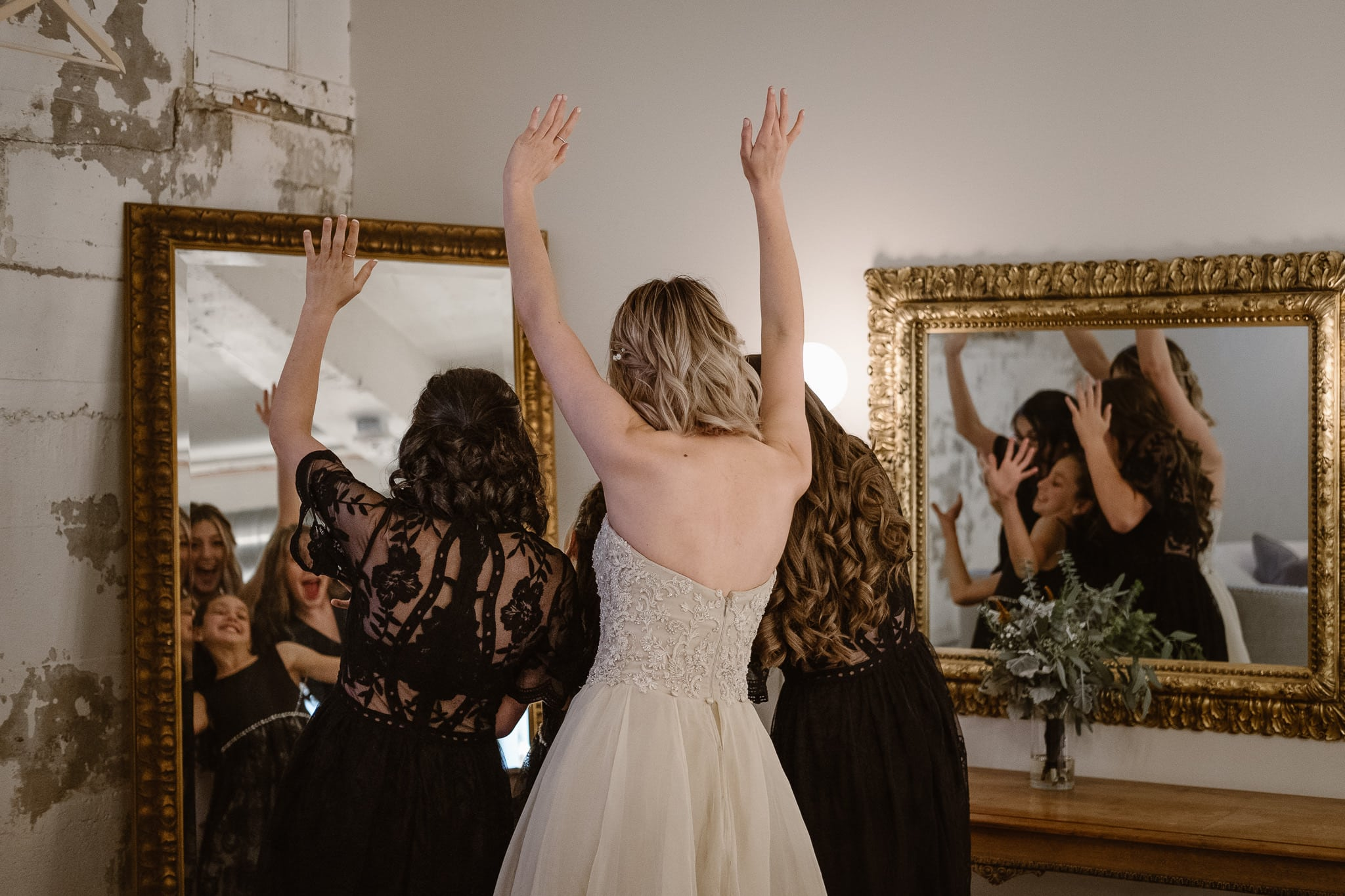 St Vrain Wedding Photographer | Longmont Wedding Photographer | Colorado Winter Wedding Photographer, Colorado industrial chic wedding, bride with her little sisters