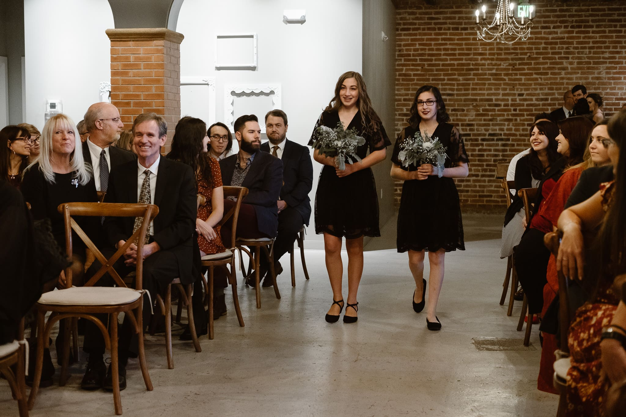 St Vrain Wedding Photographer | Longmont Wedding Photographer | Colorado Winter Wedding Photographer, Colorado industrial chic wedding ceremony, wedding processional