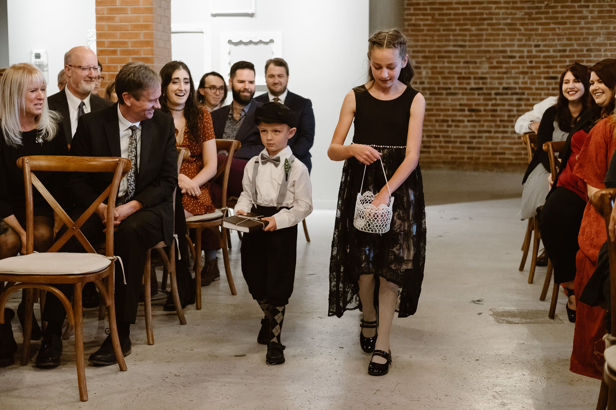 St Vrain Wedding Photographer | Longmont Wedding Photographer | Colorado Winter Wedding Photographer, Colorado industrial chic wedding ceremony, wedding processional, flower girl and ring bearer