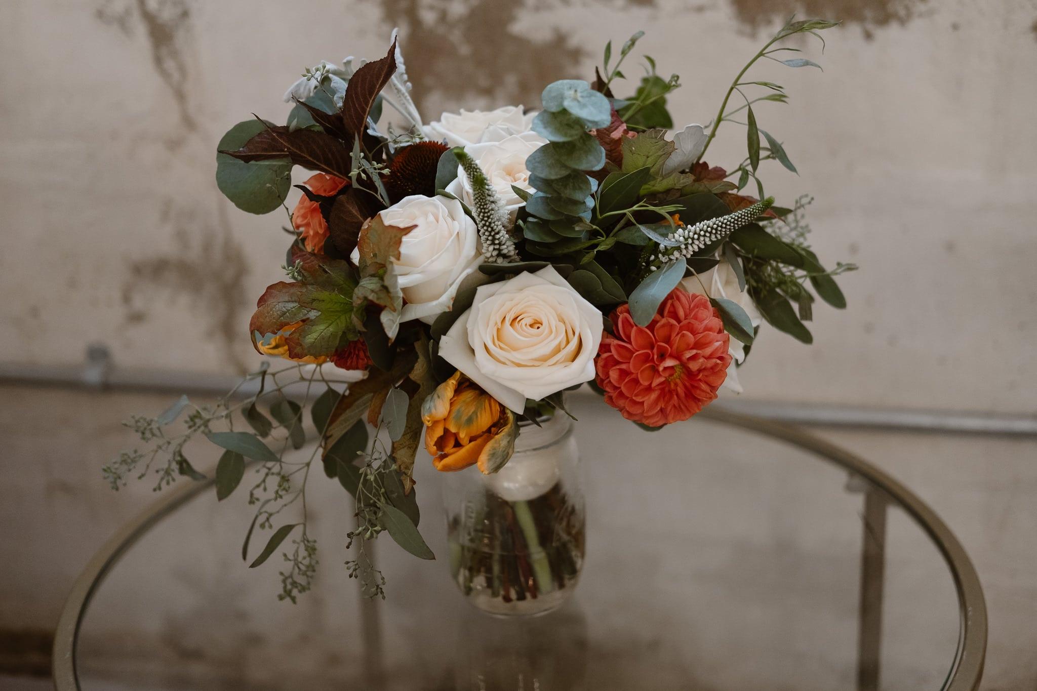 St Vrain Wedding Photographer | Longmont Wedding Photographer | Colorado Winter Wedding Photographer, Colorado industrial chic wedding, bride's bouquet