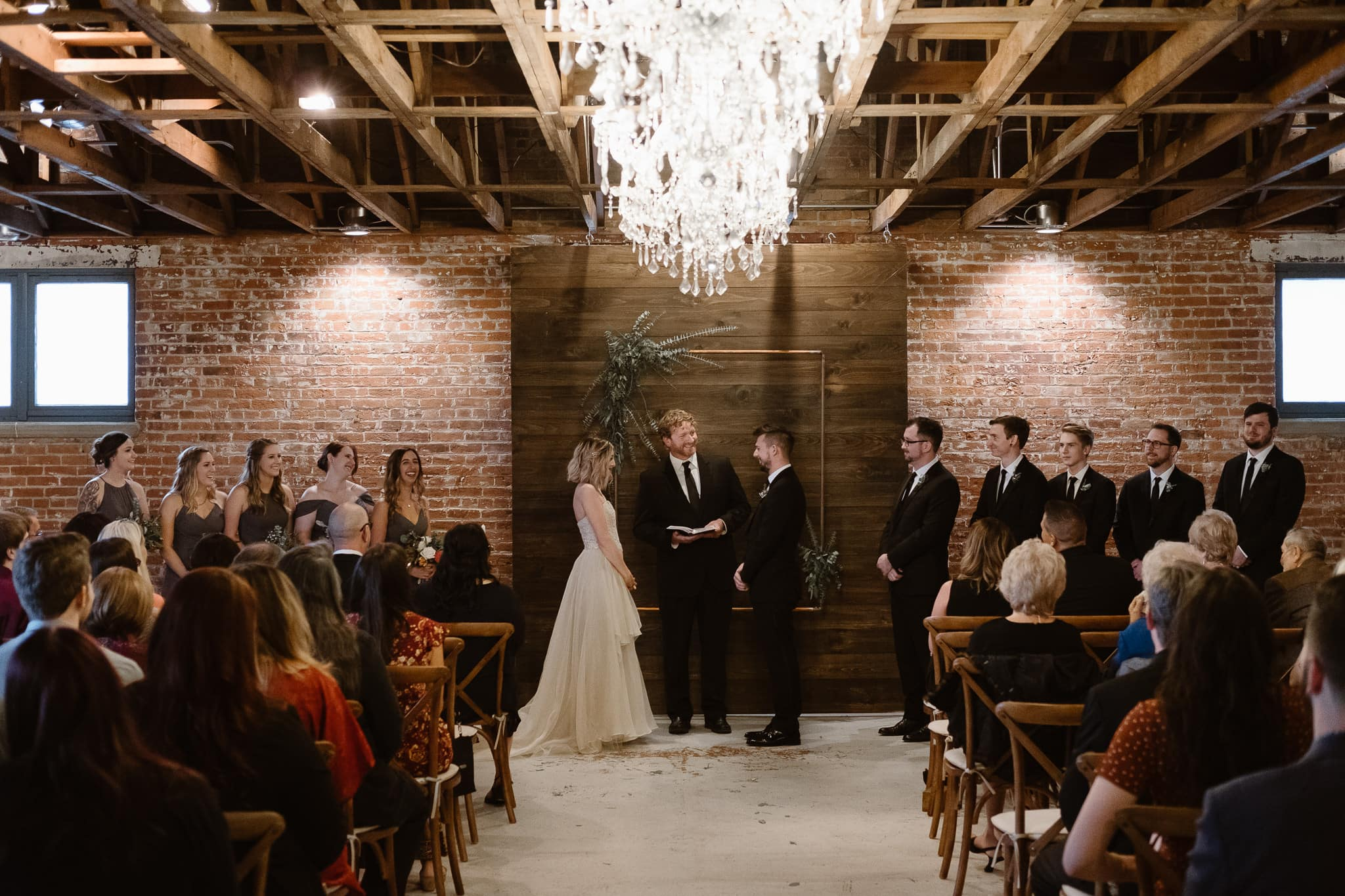 St Vrain Wedding Photographer | Longmont Wedding Photographer | Colorado Winter Wedding Photographer, Colorado industrial chic wedding ceremony,