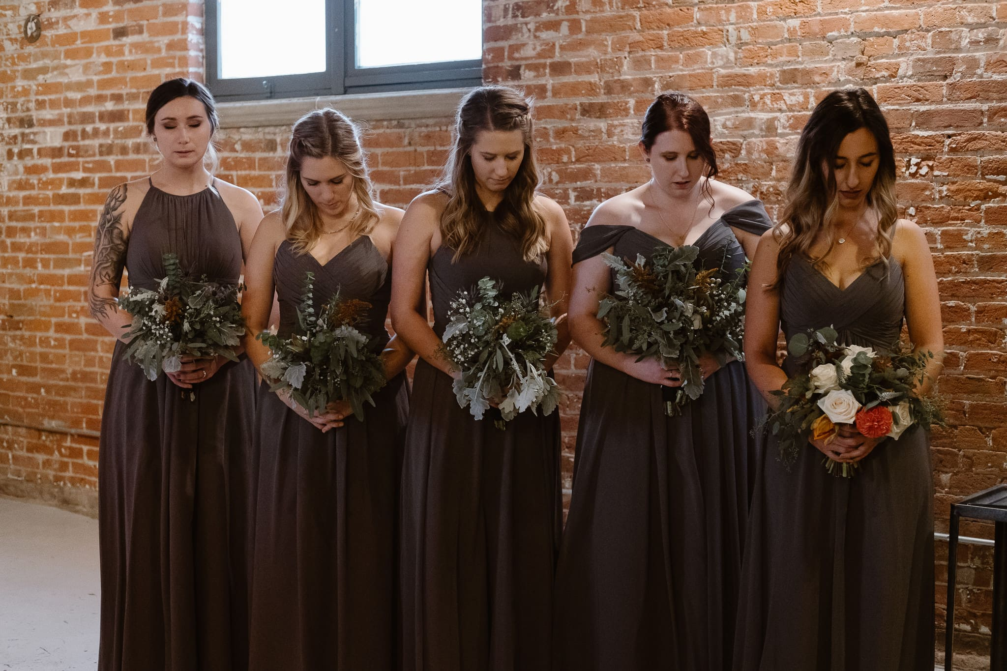 St Vrain Wedding Photographer | Longmont Wedding Photographer | Colorado Winter Wedding Photographer, Colorado industrial chic wedding ceremony, bridesmaids in dark gray dresses
