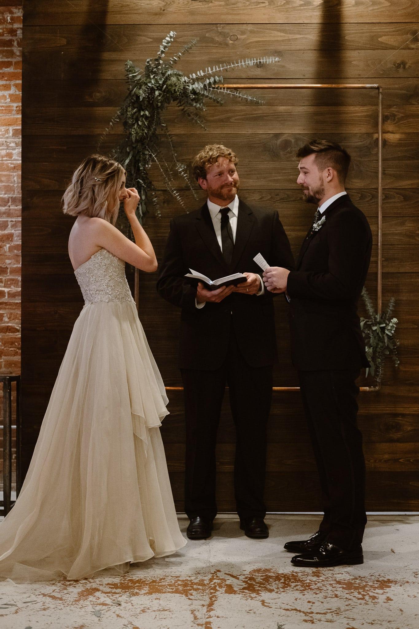 St Vrain Wedding Photographer | Longmont Wedding Photographer | Colorado Winter Wedding Photographer, Colorado industrial chic wedding ceremony,