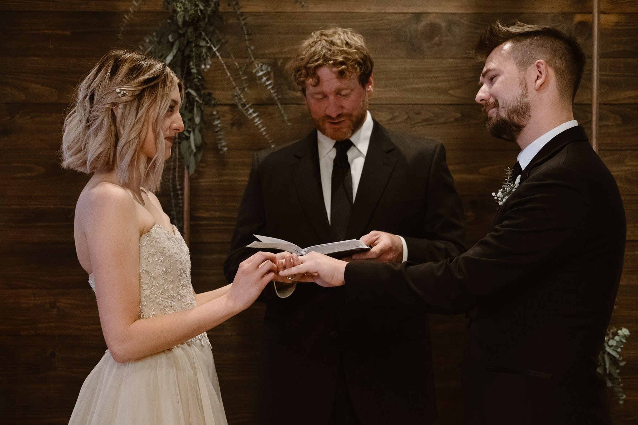 St Vrain Wedding Photographer | Longmont Wedding Photographer | Colorado Winter Wedding Photographer, Colorado industrial chic wedding ceremony, wedding ring exchange