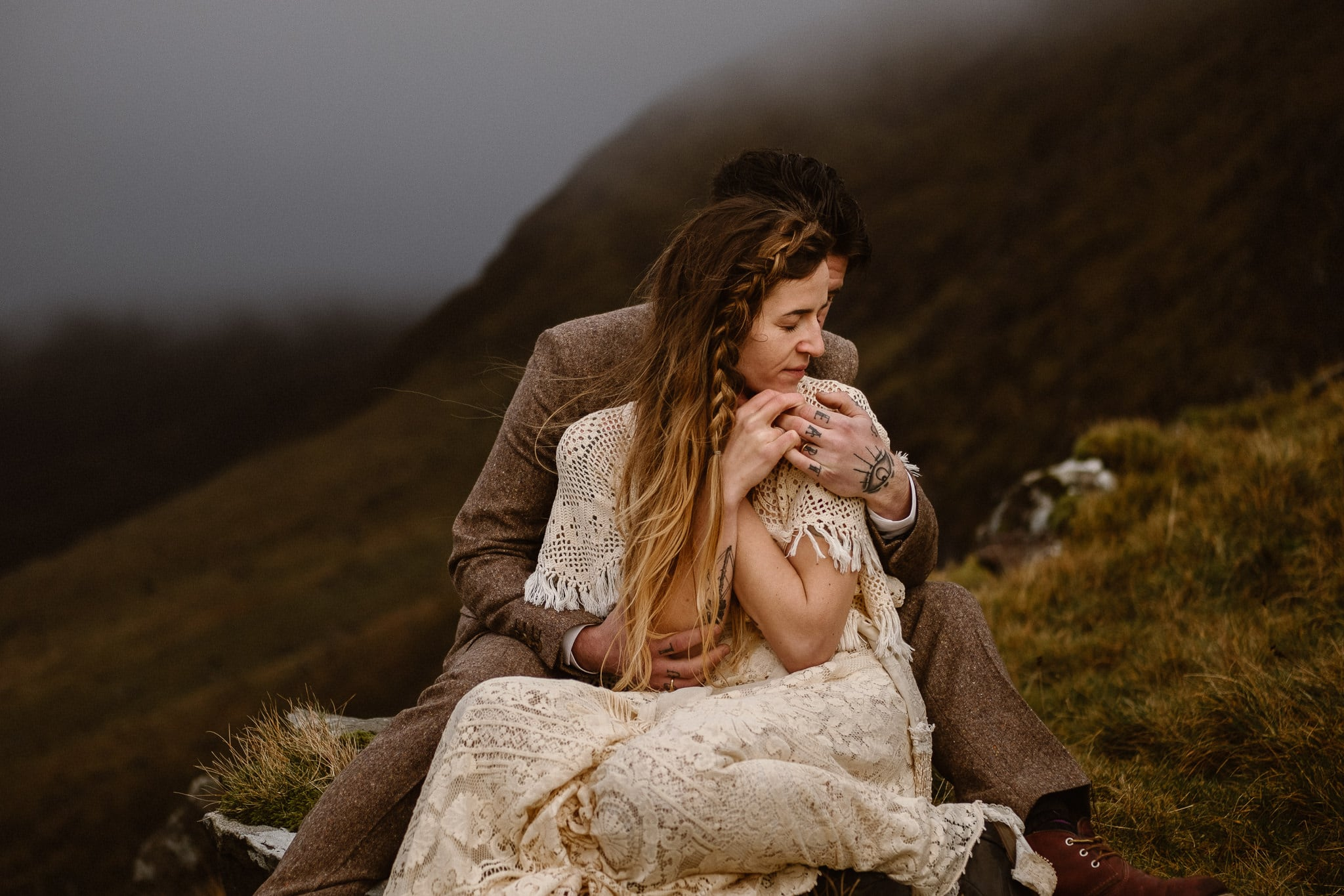 Ireland elopement photographer, Conor Pass adventure elopement, Ireland destination wedding photographer, adventure wedding photographer, hiking elopement, bride wearing Reclamation wedding dress