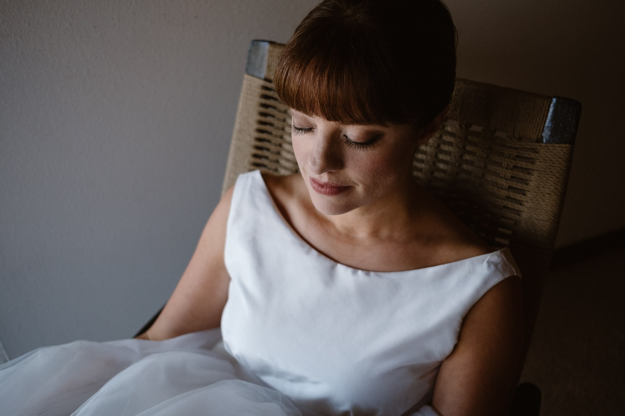 Bride portrait, bride getting ready for Silverthorne Pavilion wedding, Colorado wedding photographer
