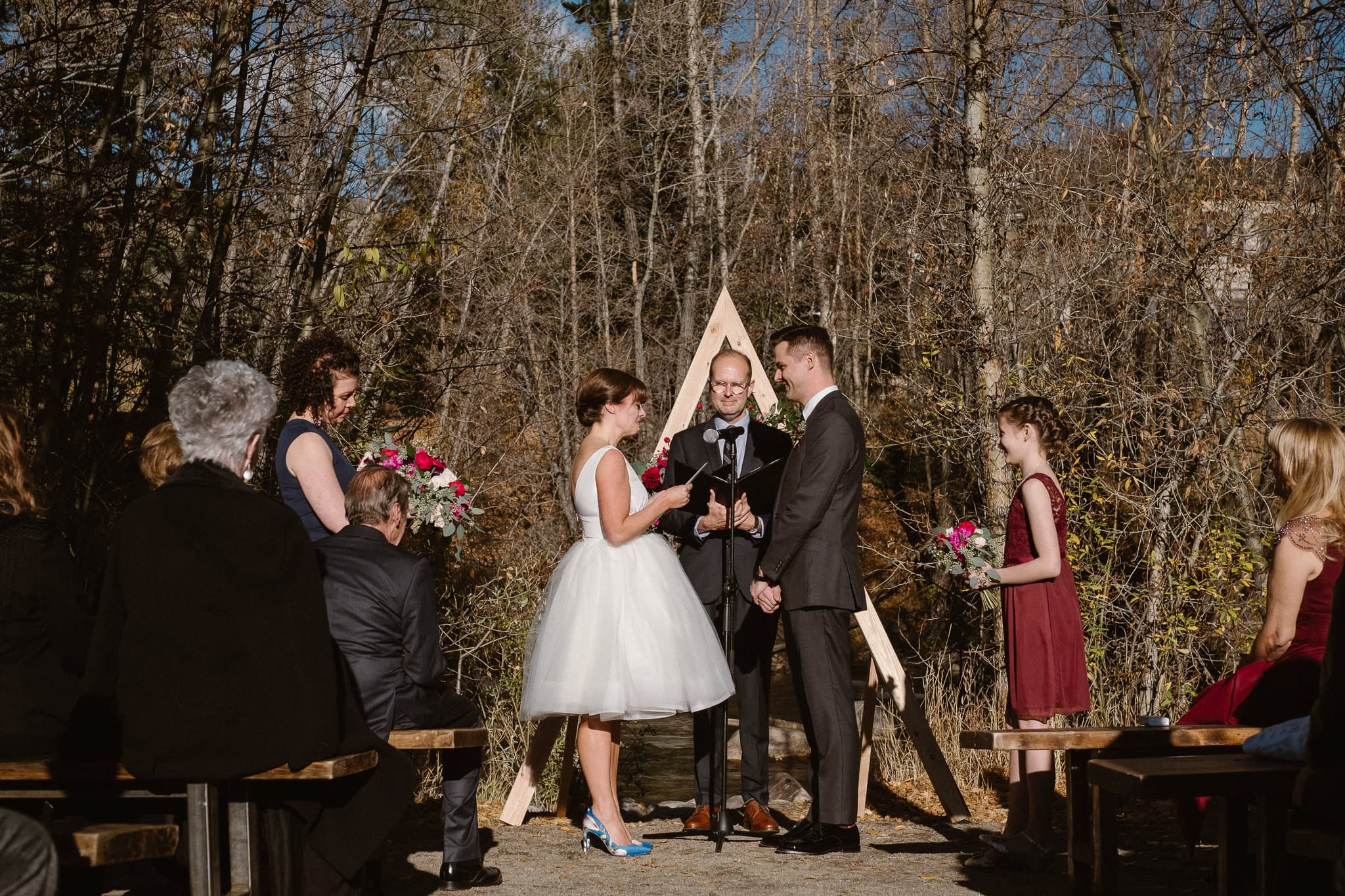 Silverthorne Pavilion wedding ceremony, Colorado wedding photographer, outdoor wedding ceremony, Colorado mountain wedding venues