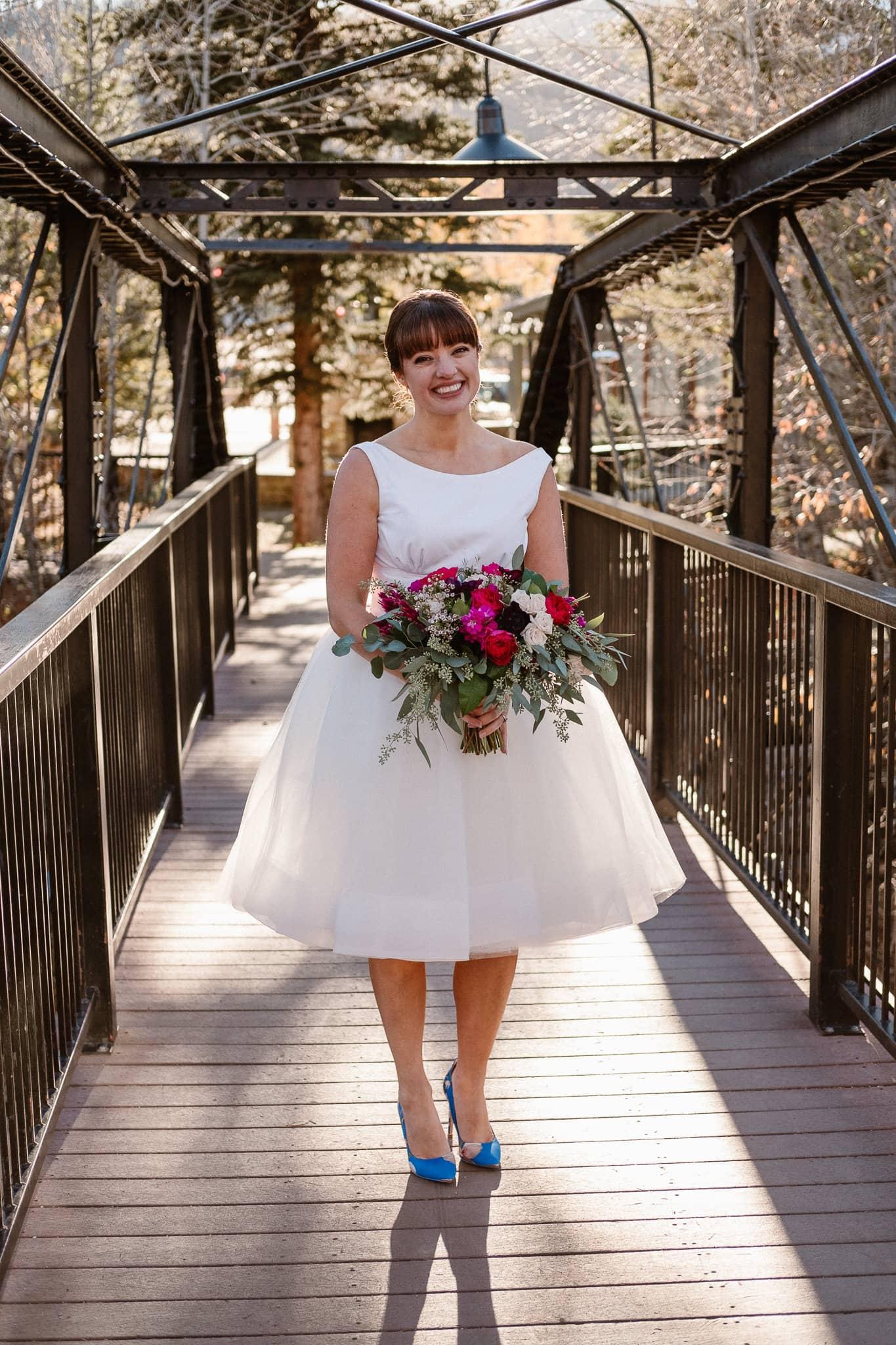 Silverthorne Pavilion wedding photography, Colorado wedding photographer, bride portrait, classic Audrey Hepburn style wedding dress