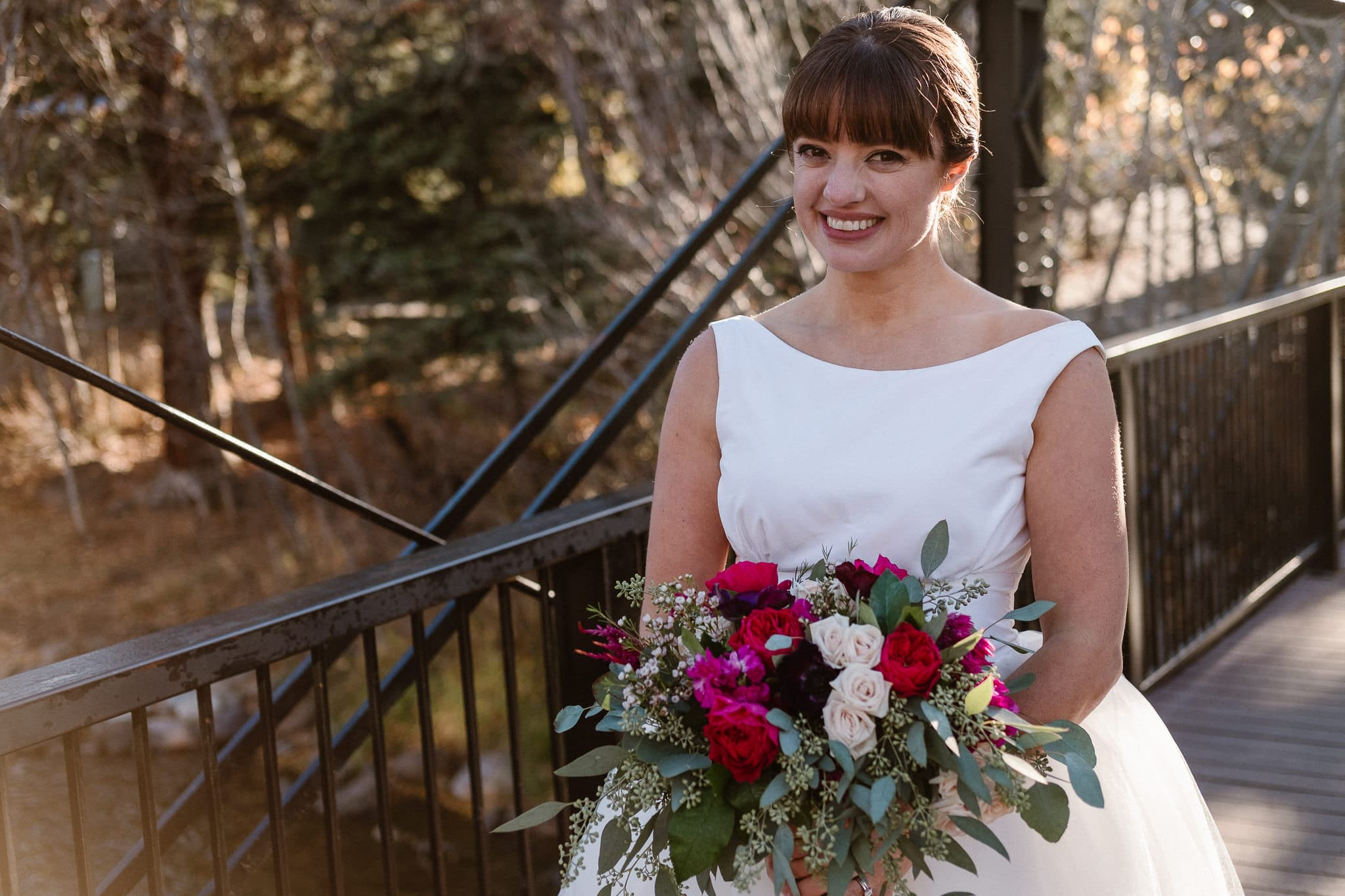 Silverthorne Pavilion wedding photography, Colorado wedding photographer, bride portrait, classic Audrey Hepburn style wedding dress