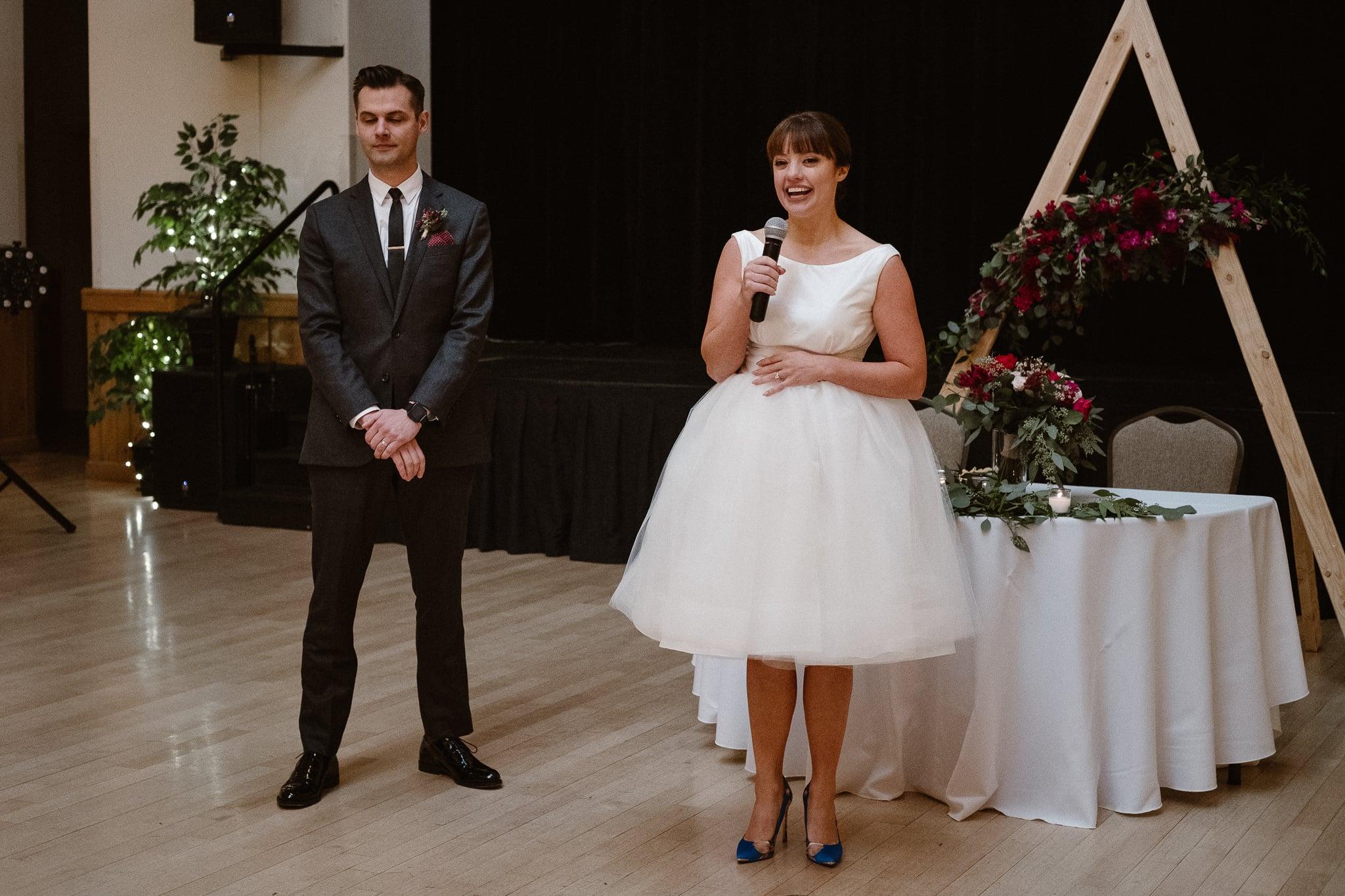 Silverthorne Pavilion wedding photography, Colorado wedding photographer, bride and groom welcome toast