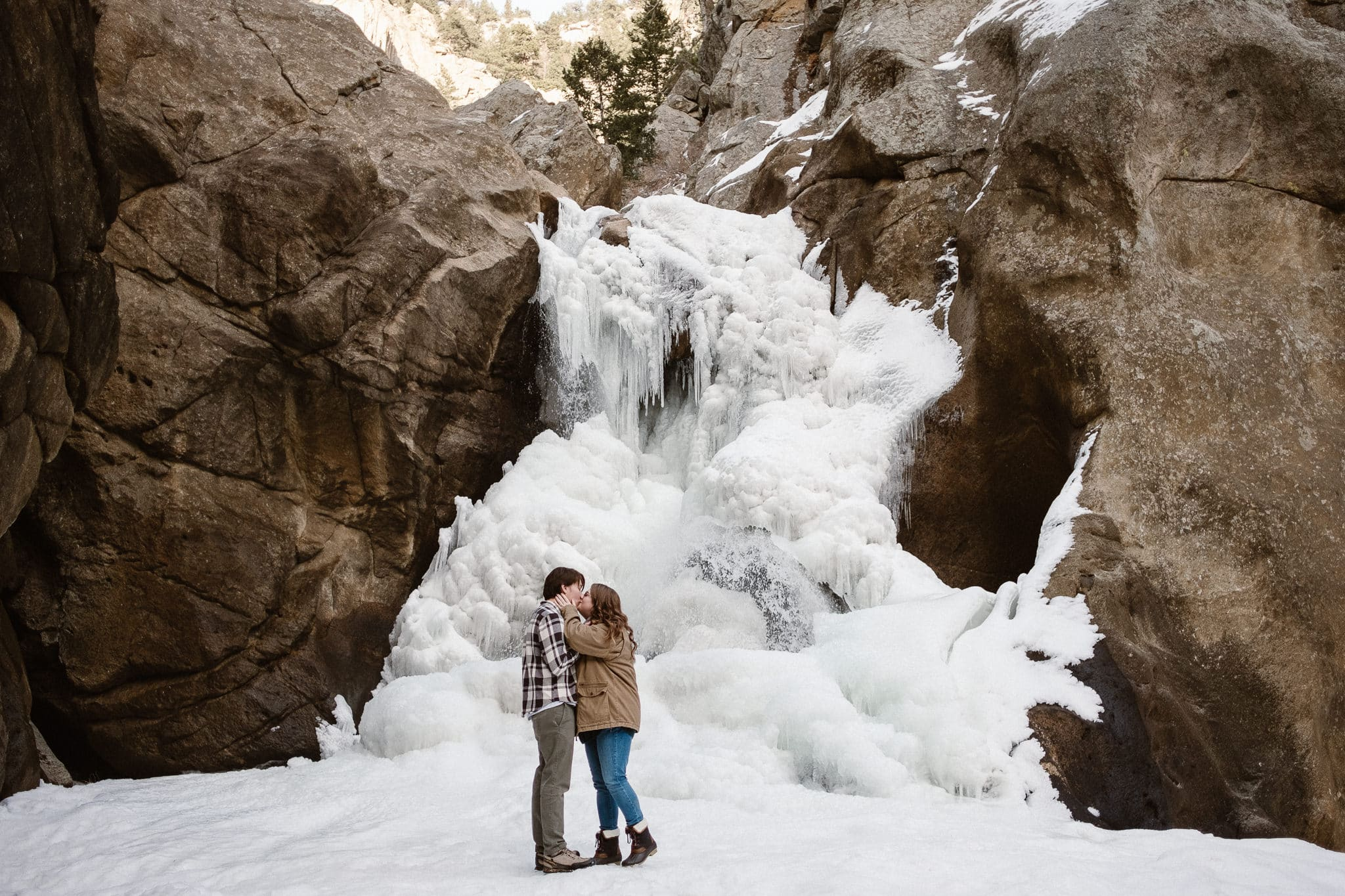 Boulder Falls winter engagement session, Boulder engagement photographer, Colorado adventure photographer, adventure engagement, frozen waterfall