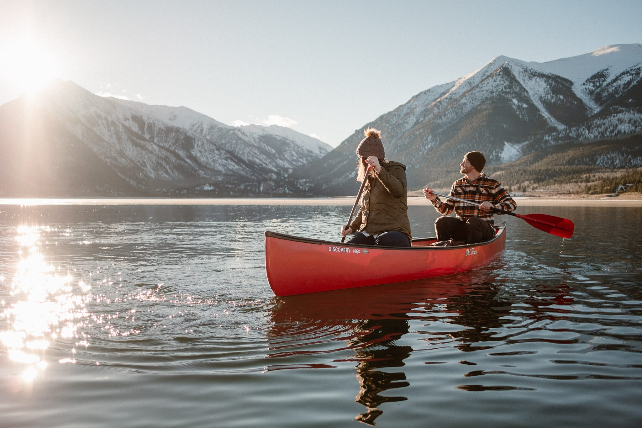 Canoeing engagement session, Colorado winter adventure session, Colorado engagement photographer