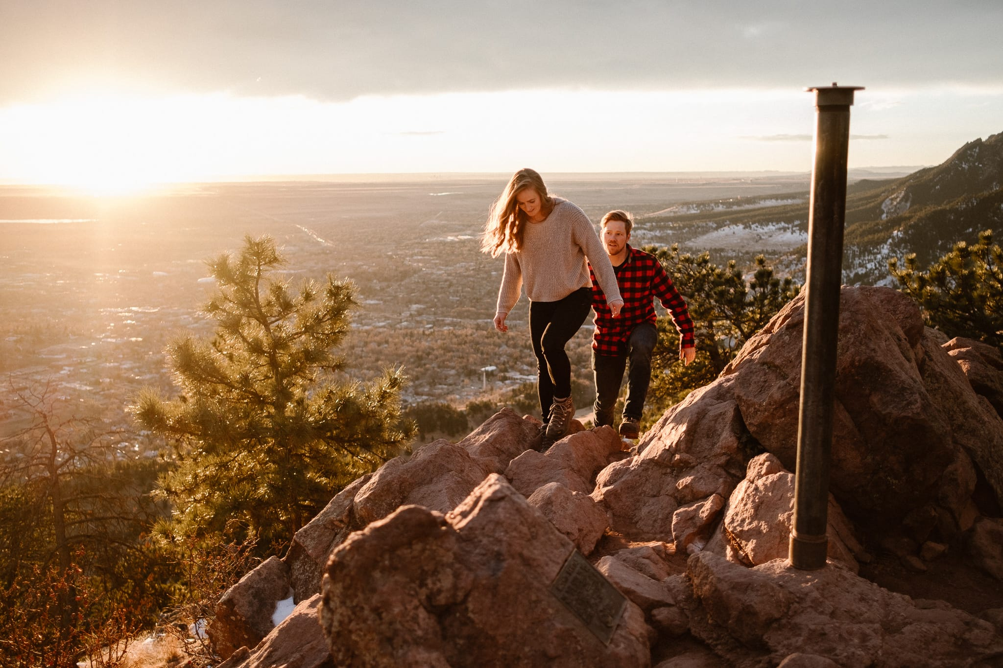 Mount Sanitas Engagement Session | Boulder Engagement Photographer | Colorado Hiking Engagement Session, couple hiking with dog at sunrise