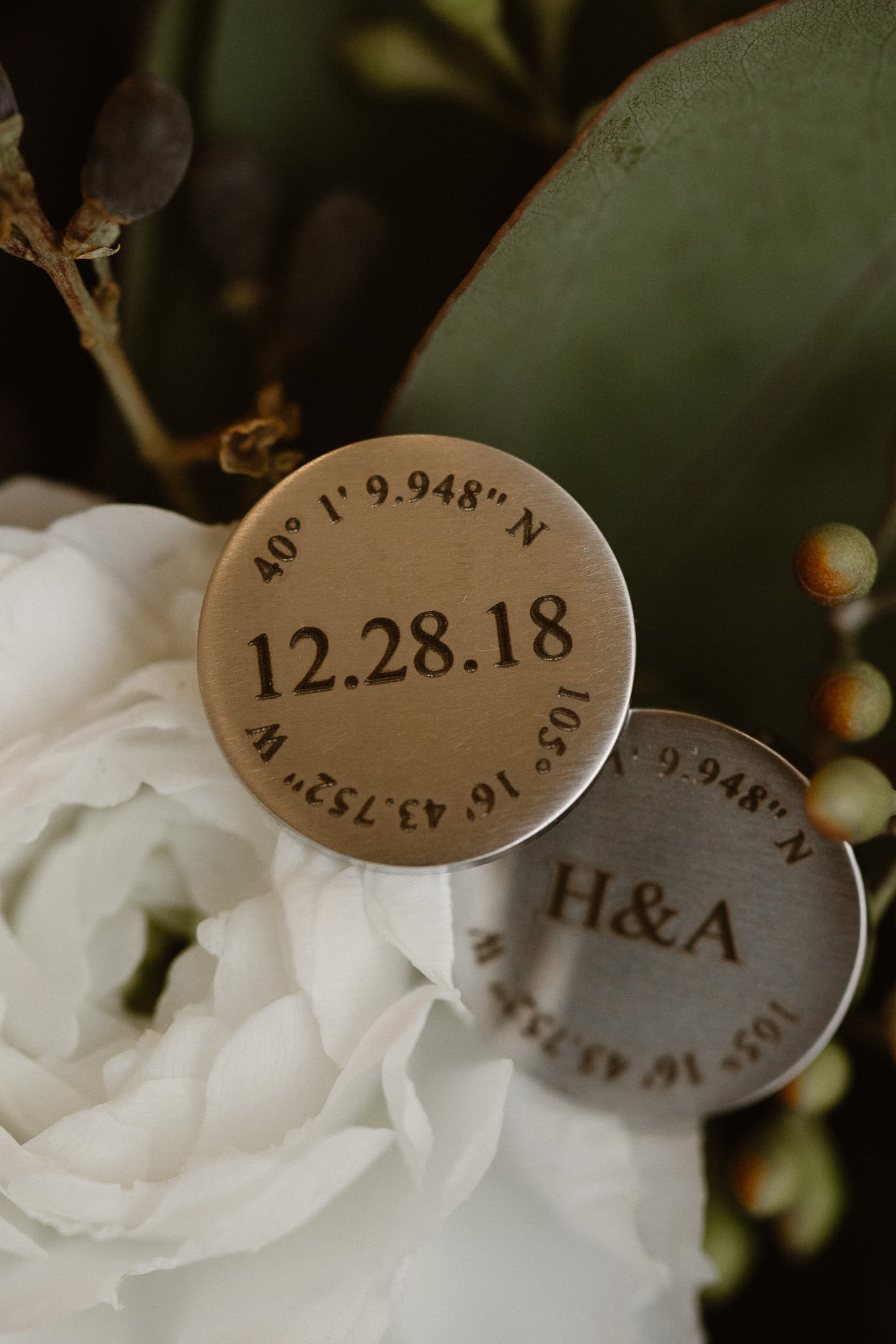 Rembrandt Yard wedding photographer, Boulder wedding photographer, Colorado Jewish wedding, groom's cufflinks with wedding date and coordinates