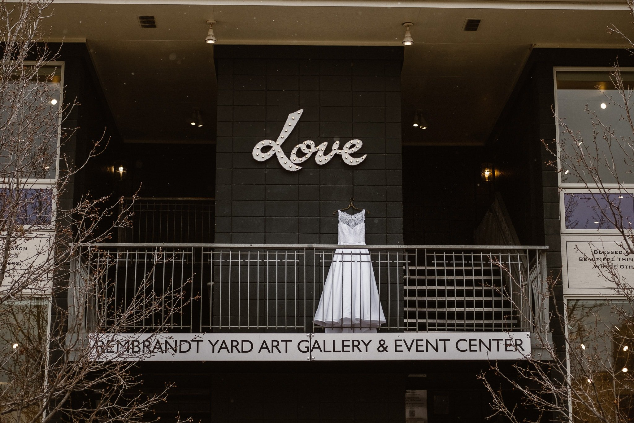 Rembrandt Yard wedding photographer, Boulder wedding photographer, Colorado Jewish wedding, wedding dress hanging under Love sign