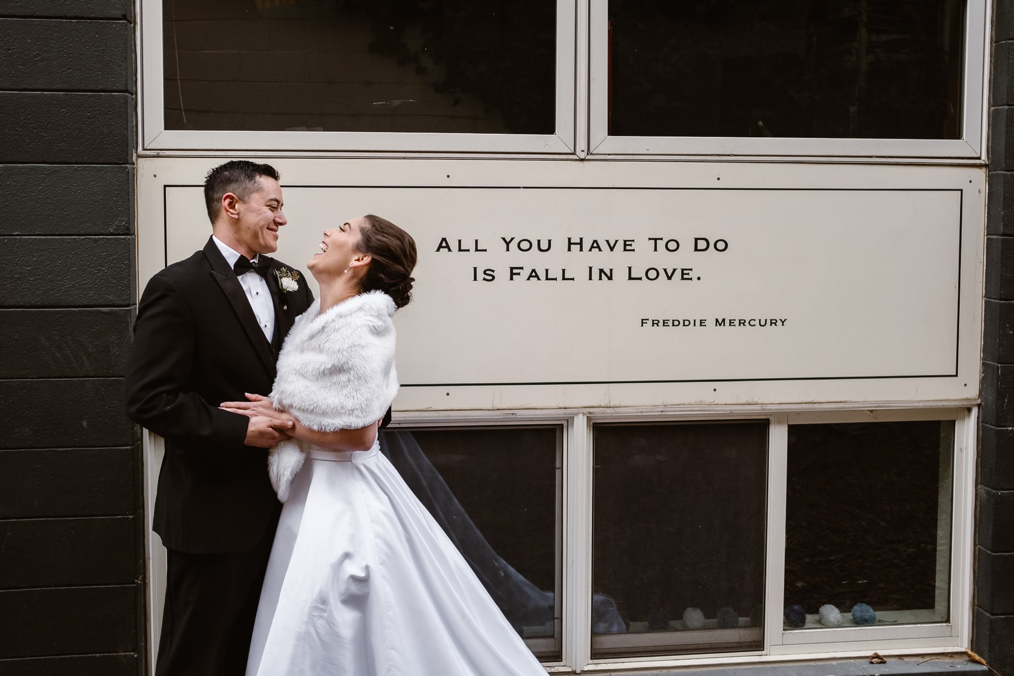 Rembrandt Yard wedding photographer, Boulder wedding photographer, Colorado Jewish wedding, bride and groom portrait with Freddie Mercury quote