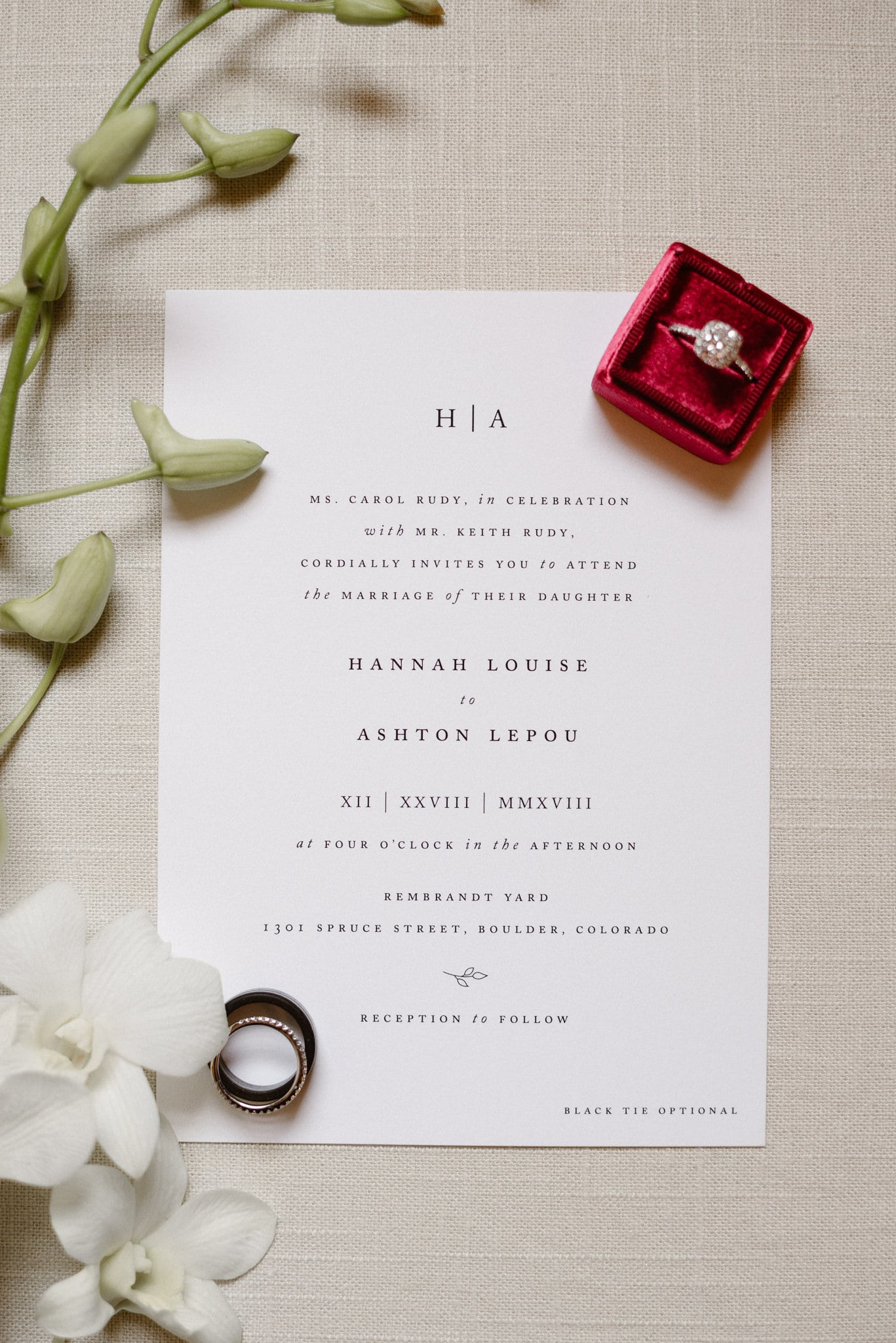 Rembrandt Yard wedding photographer, Boulder wedding photographer, Colorado Jewish wedding, classic wedding invitations with rings and flowers