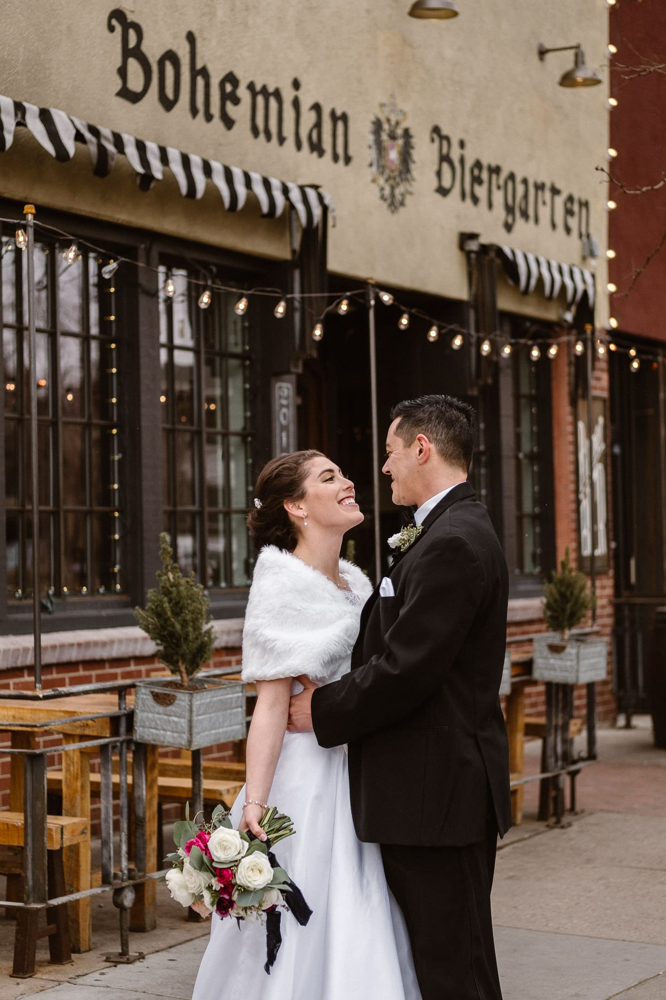 Rembrandt Yard wedding photographer, Boulder wedding photographer, Colorado Jewish wedding, bride and groom portraits in downtown Boulder