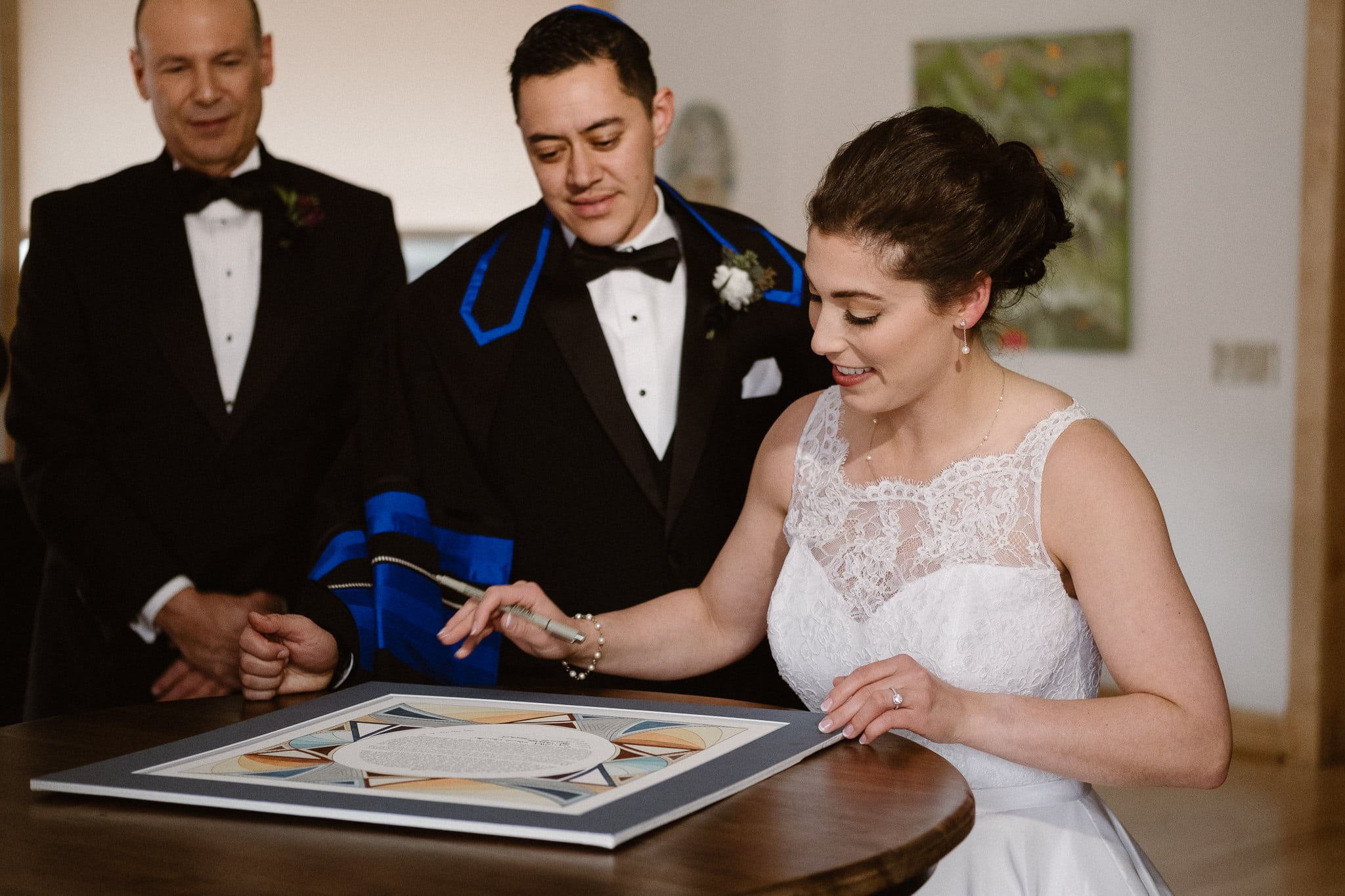 Rembrandt Yard wedding photographer, Boulder wedding photographer, Colorado Jewish wedding, ketubah signing