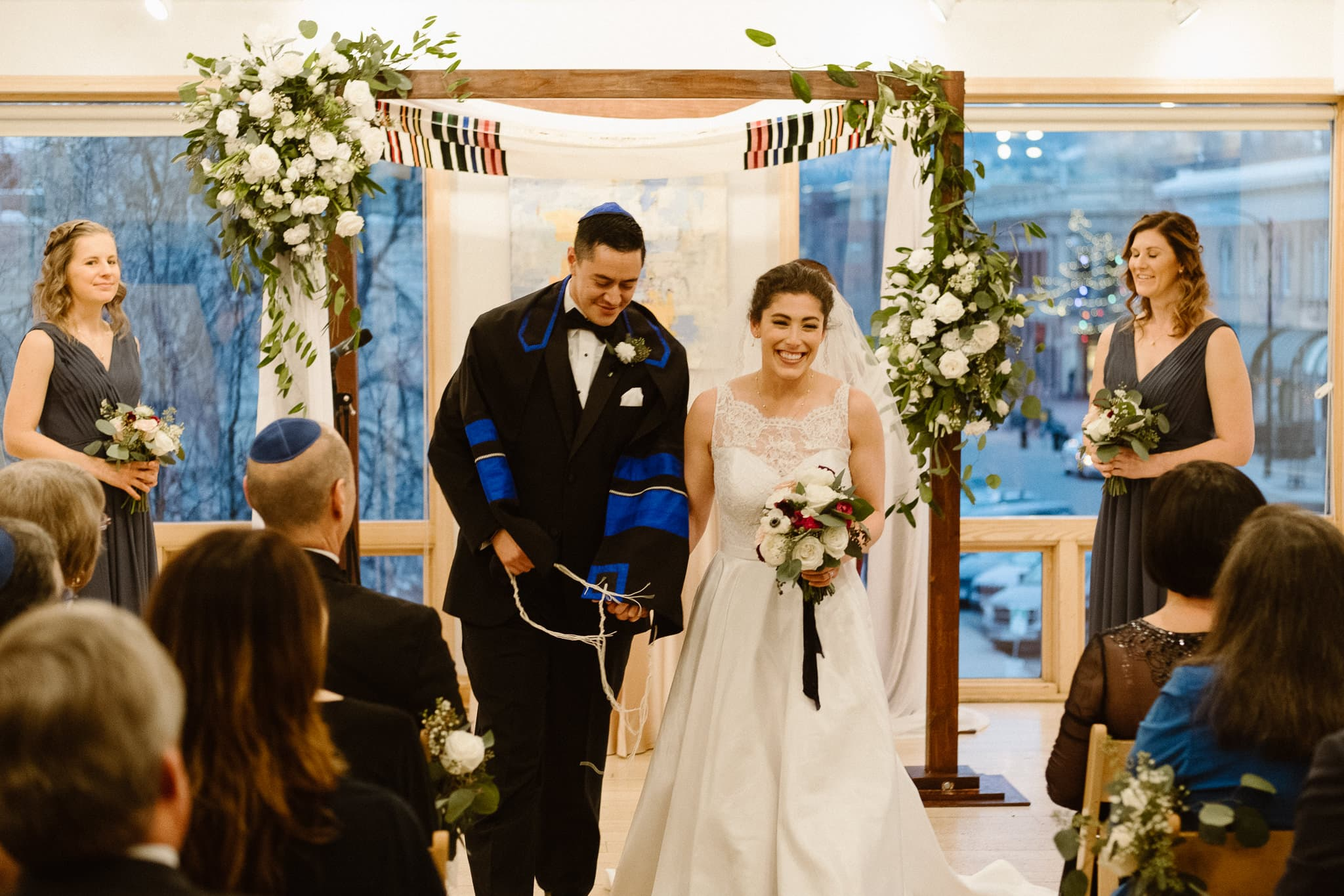 Rembrandt Yard wedding photographer, Boulder wedding photographer, Colorado Jewish wedding ceremony, bride and groom walking down aisle together