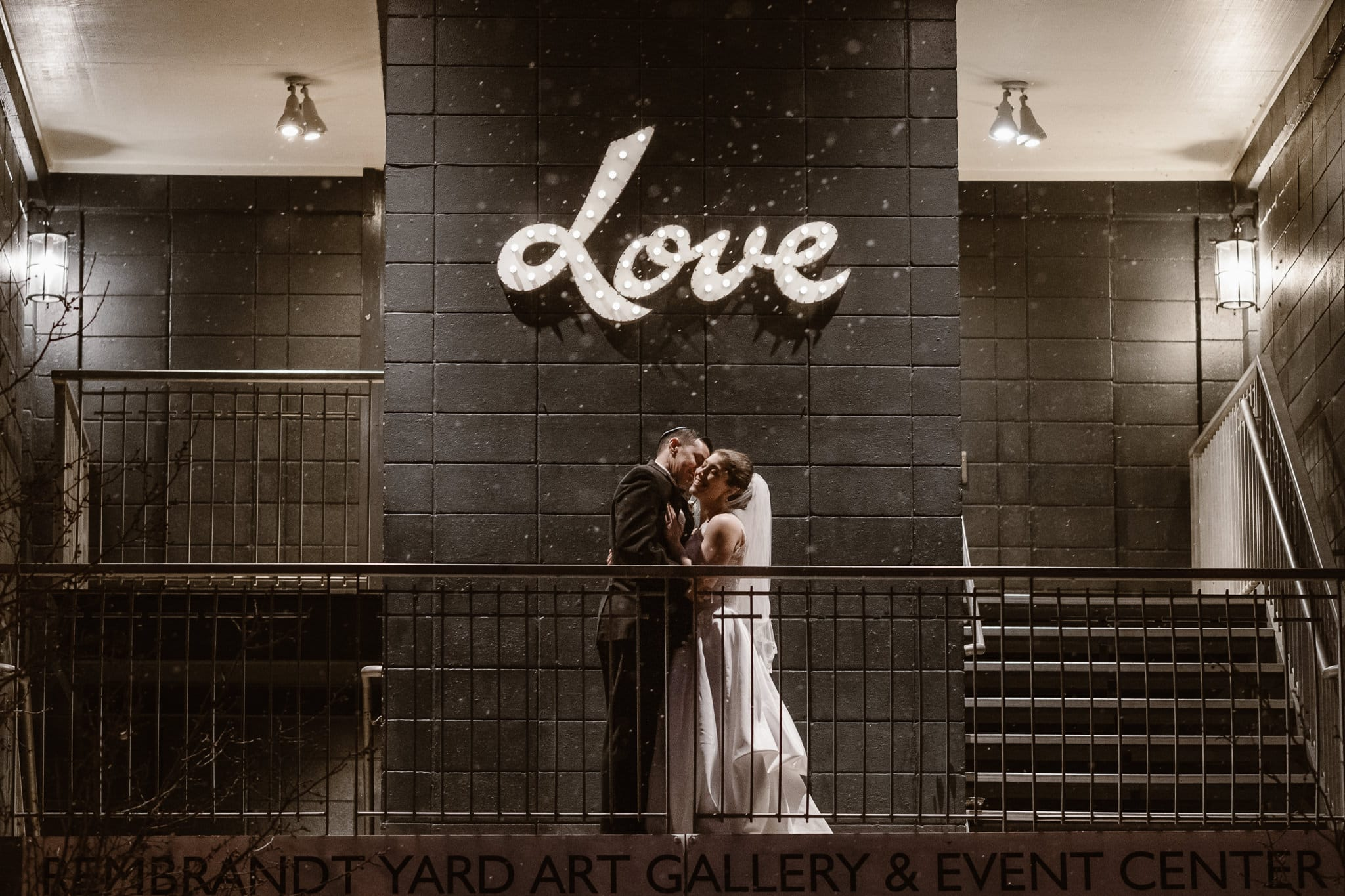Rembrandt Yard wedding photographer, Boulder wedding photographer, bride and groom nighttime photo outside in snow