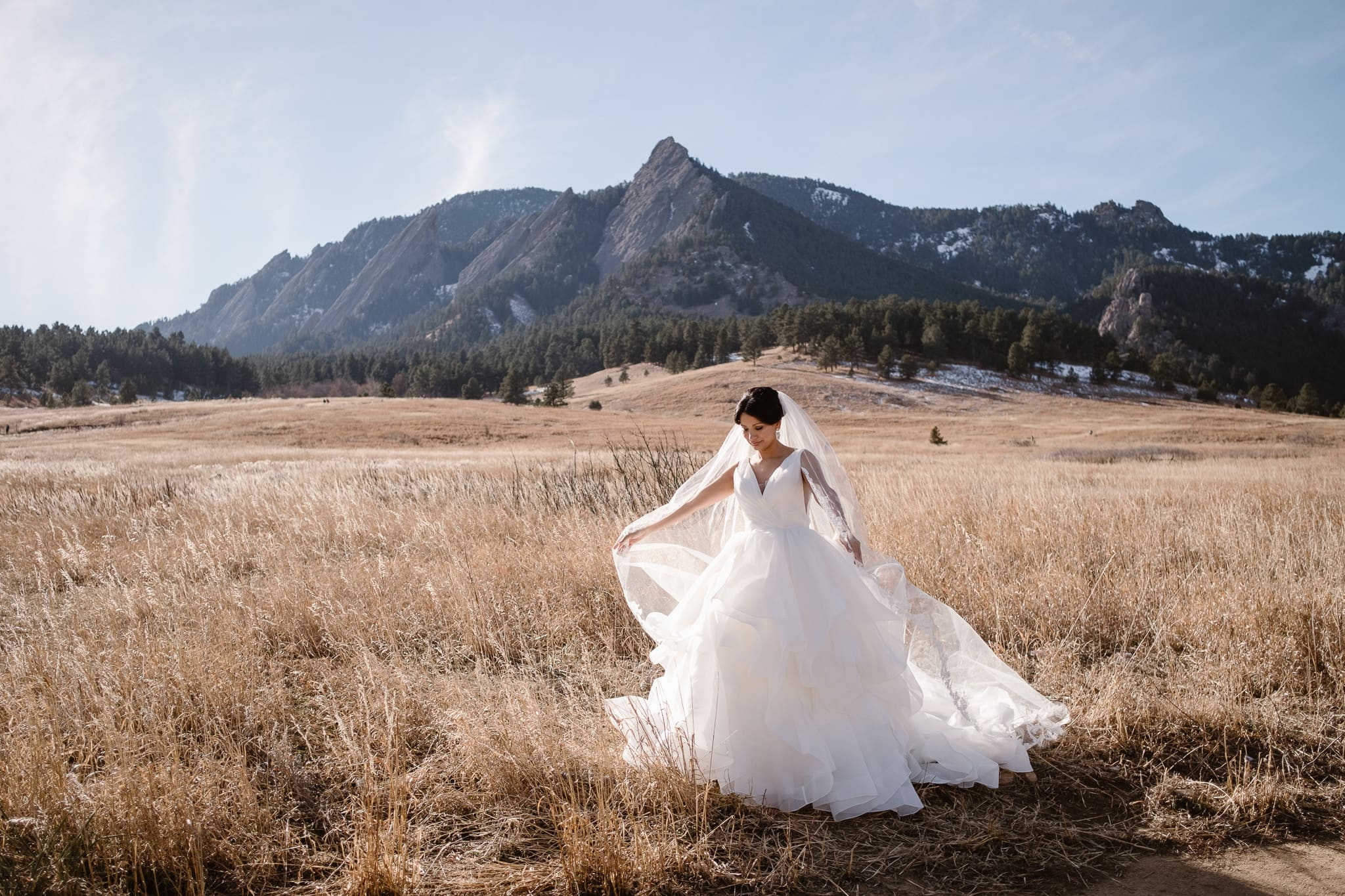 Bride portraits at Chautauqua with views of the Flatirons, Boulder wedding photographer, Colorado wedding photographer, St Julien wedding with mountain wedding photos