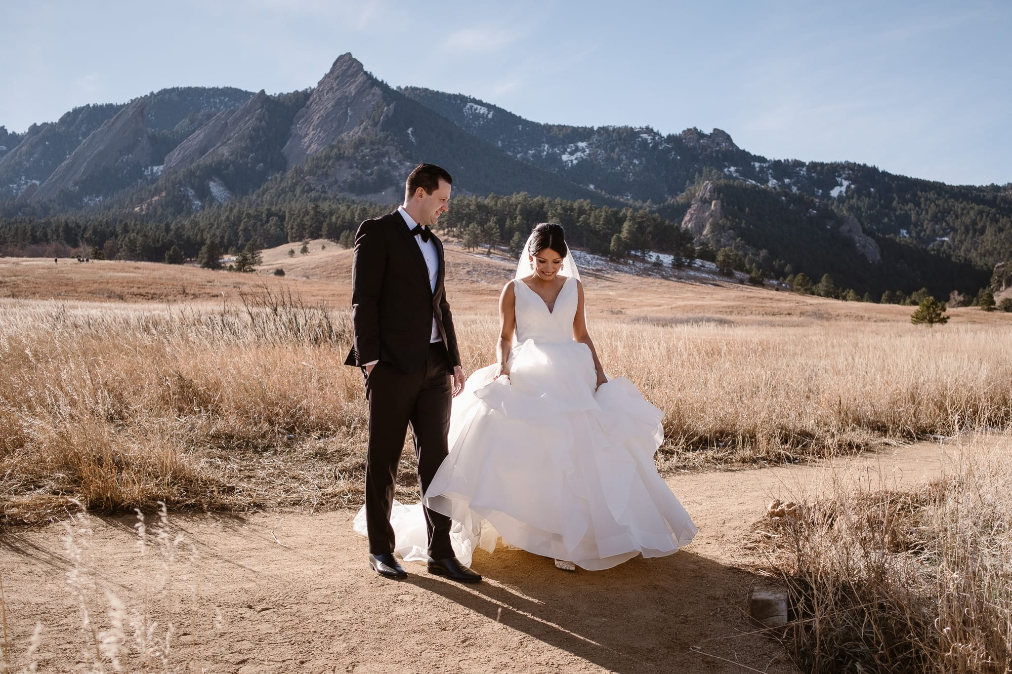 Bride and groom portraits at Chautauqua with views of the Flatirons, Boulder wedding photographer, Colorado wedding photographer, St Julien wedding with mountain wedding photos