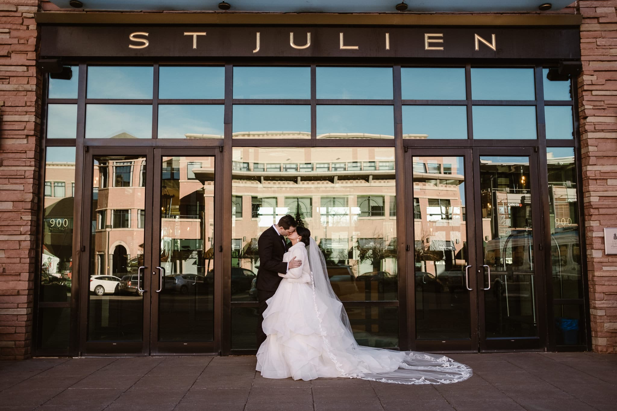 Bride and groom portraits in front of The St Julien Hotel & Spa , Boulder wedding photographer, Colorado wedding photographer, St Julien wedding photographer, downtown Boulder wedding photos