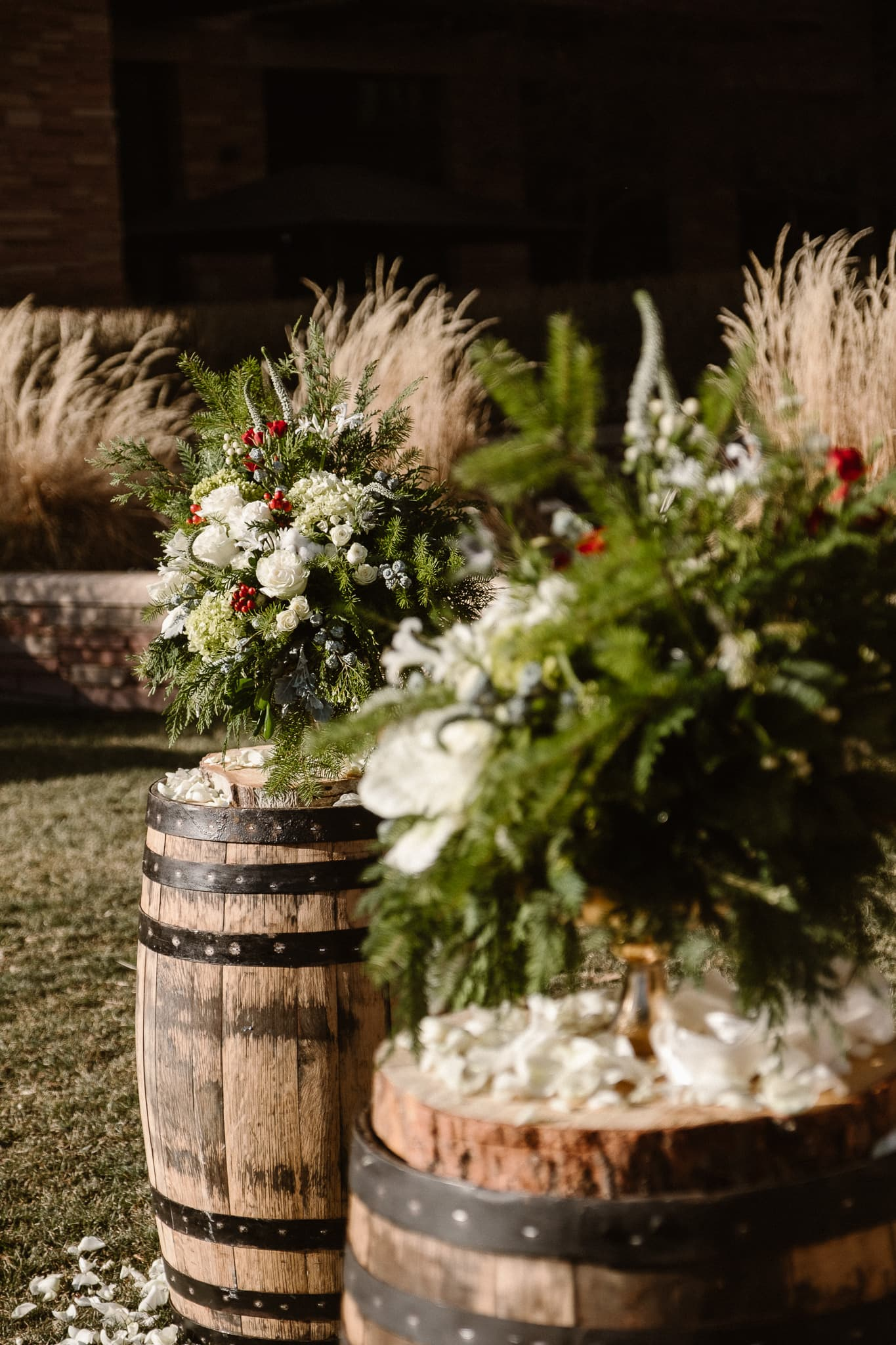 Christmas themed wedding florals by Boulder Blooms, St Julien wedding photographer, The St Julien Hotel & Spa wedding ceremony in downtown Boulder, Boulder wedding photographer