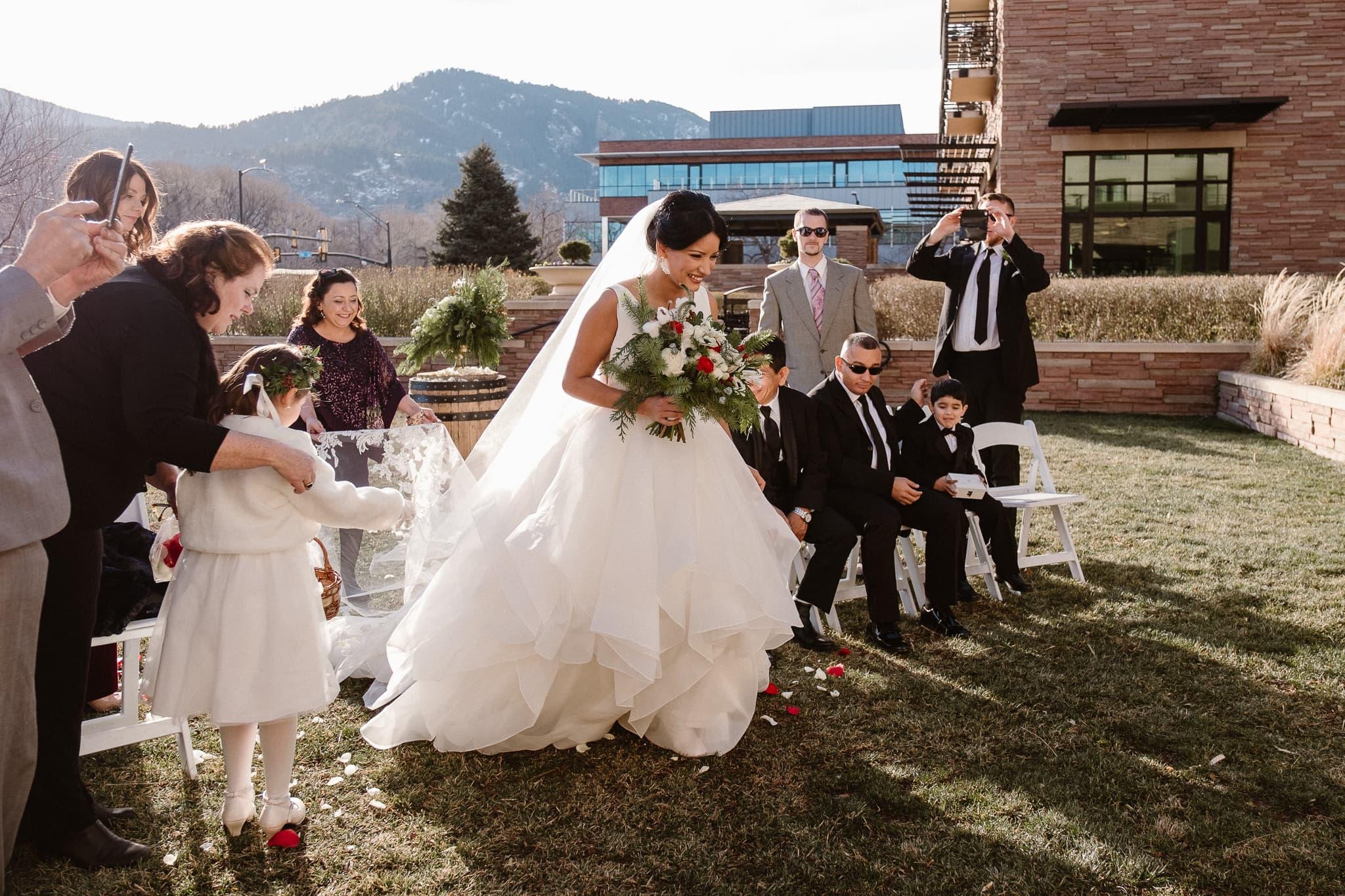 St Julien wedding photographer, The St Julien Hotel & Spa wedding ceremony in downtown Boulder, Boulder wedding photographer, bride walking down the aisle