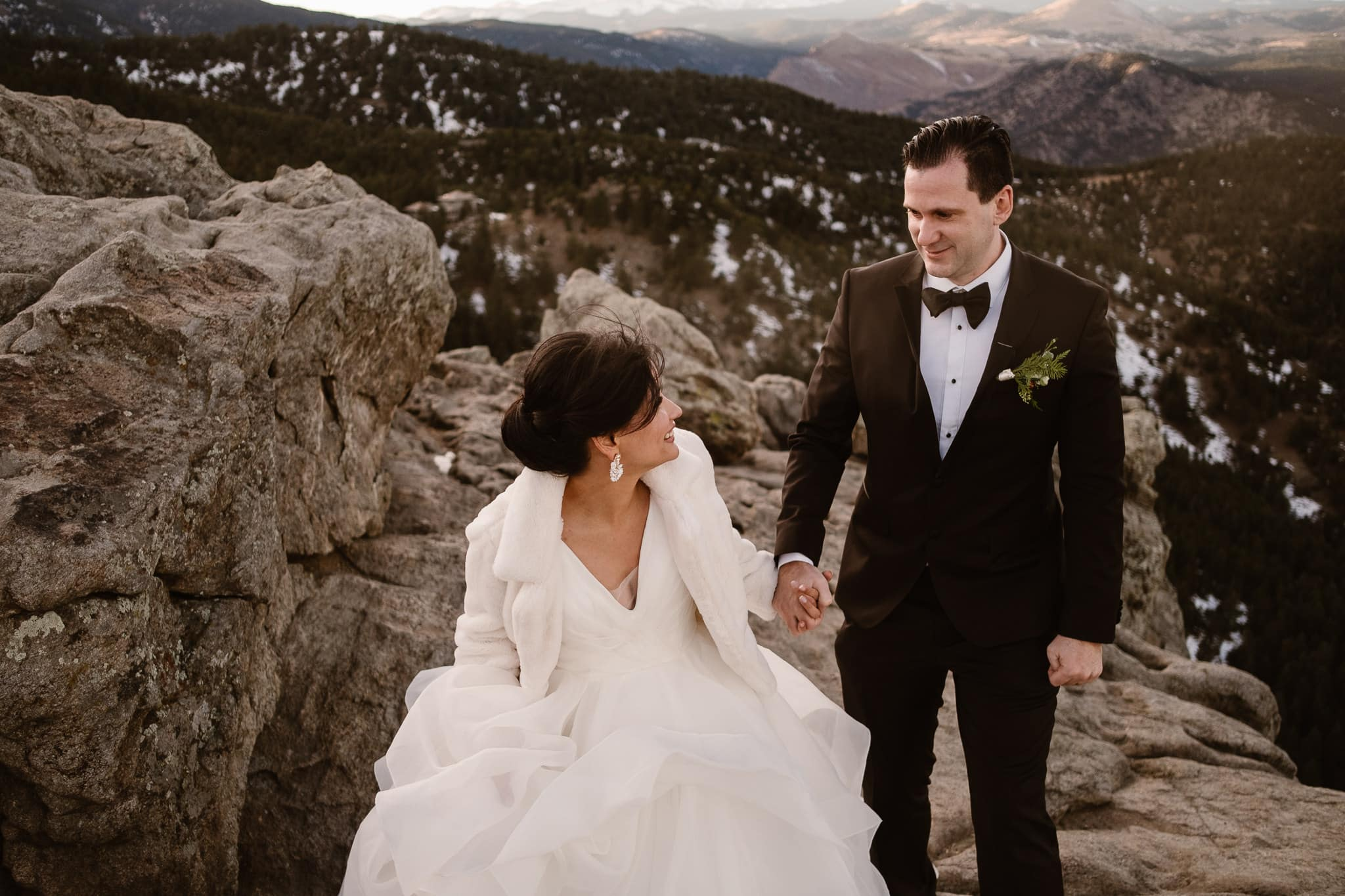 Lost Gulch wedding portraits of bride and groom, St Julien wedding with mountain portraits at sunset, Boulder wedding photographer, Colorado wedding photographer