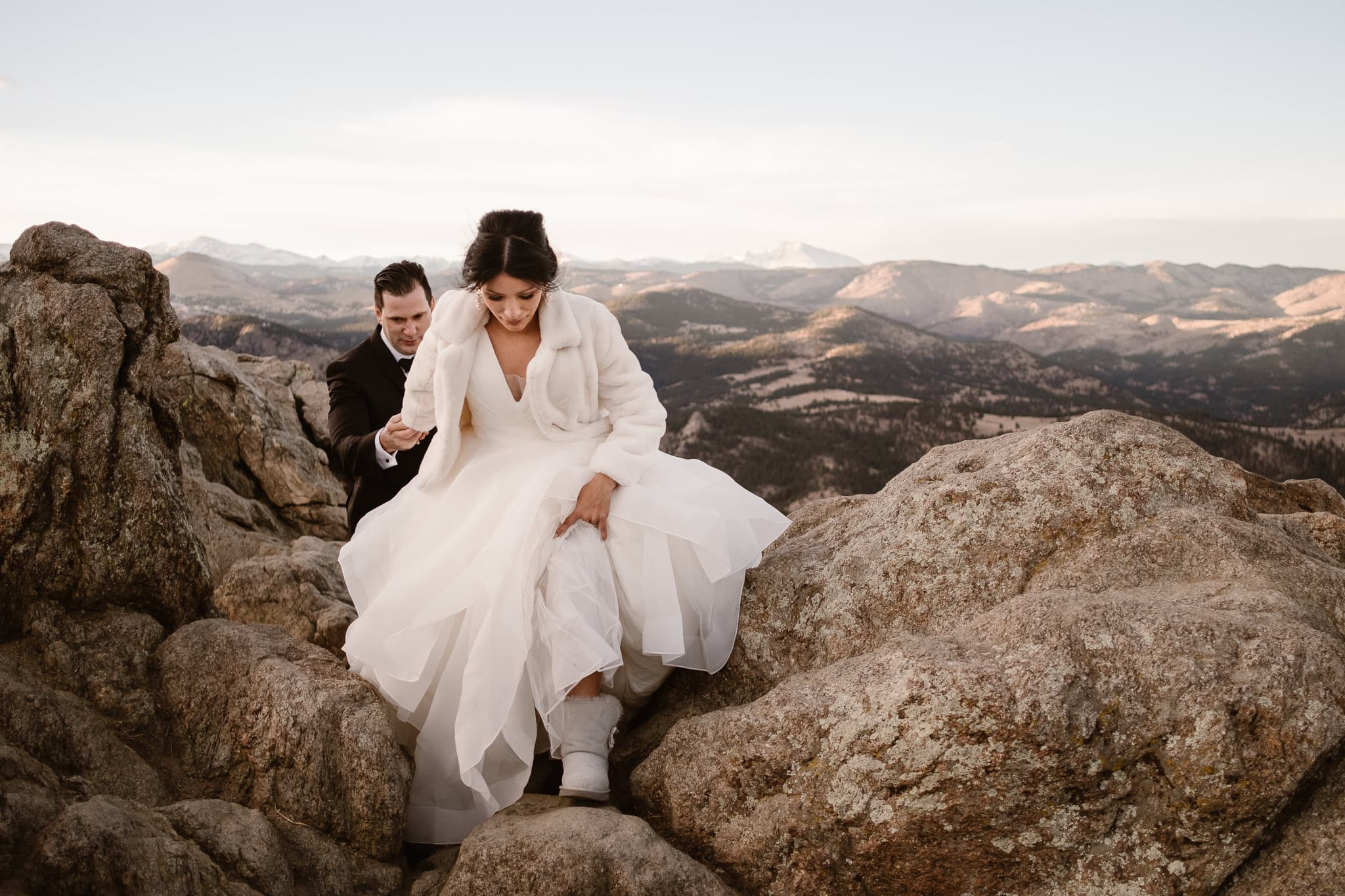 Lost Gulch wedding portraits of bride and groom, St Julien wedding with mountain portraits at sunset, Boulder wedding photographer, Colorado wedding photographer, bride hiking in Uggs