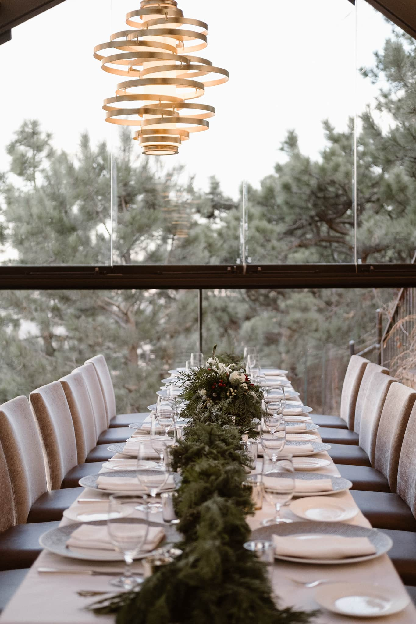 Flagstaff House wedding reception, Boulder intimate wedding, Christmas themed wedding reception decor