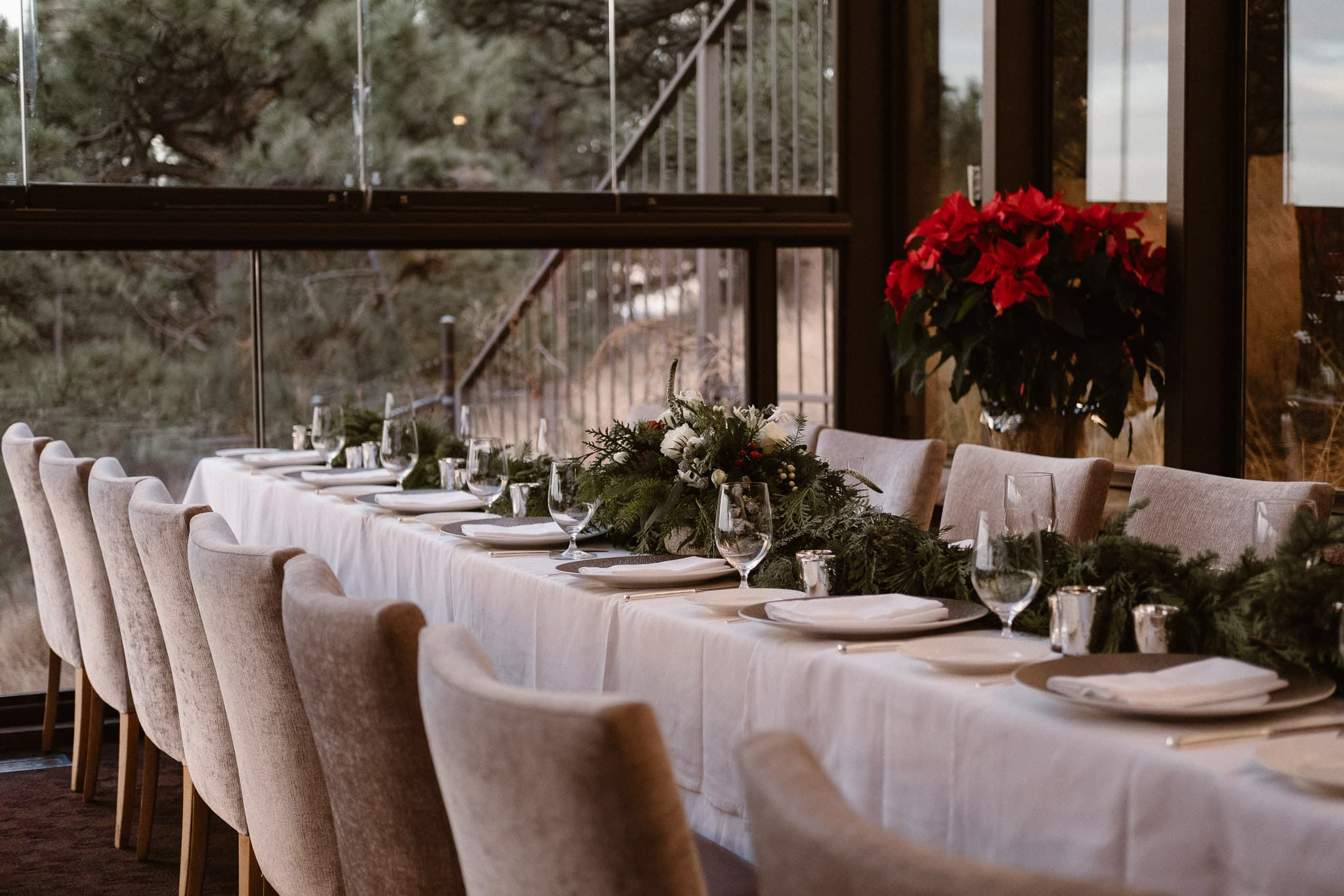 Flagstaff House wedding reception, Boulder intimate wedding, Christmas themed wedding reception decor