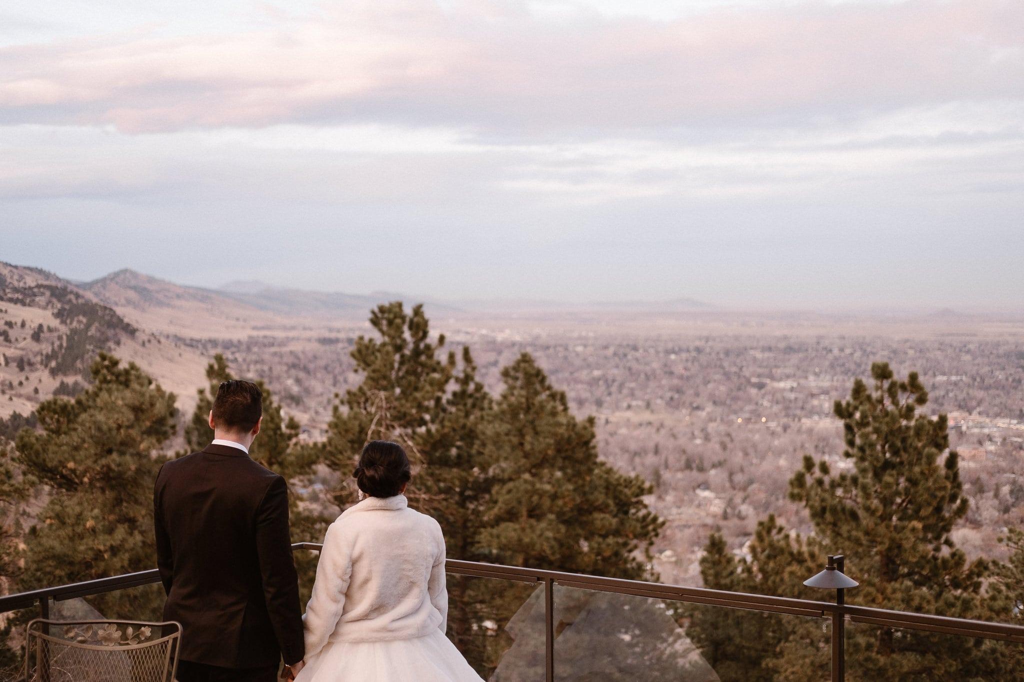 Flagstaff House wedding reception, Boulder intimate wedding, bride and groom watching sunset over Boulder