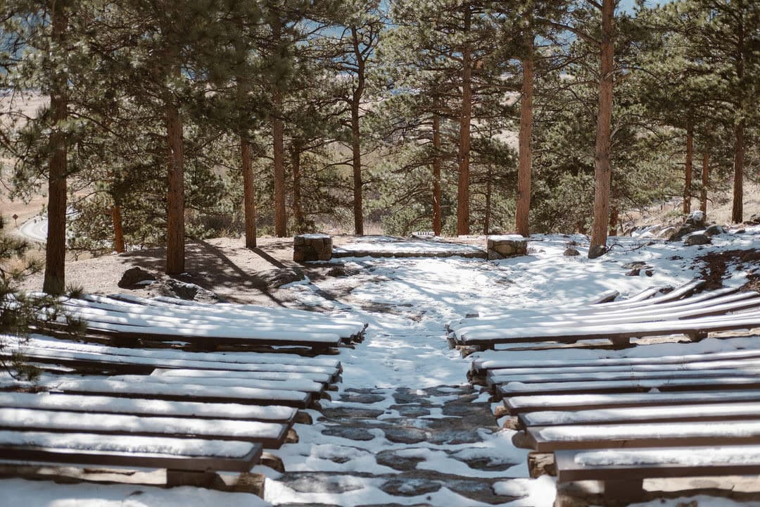 Moraine Park visitor center amphitheater, Rocky Mountain National Park wedding locations