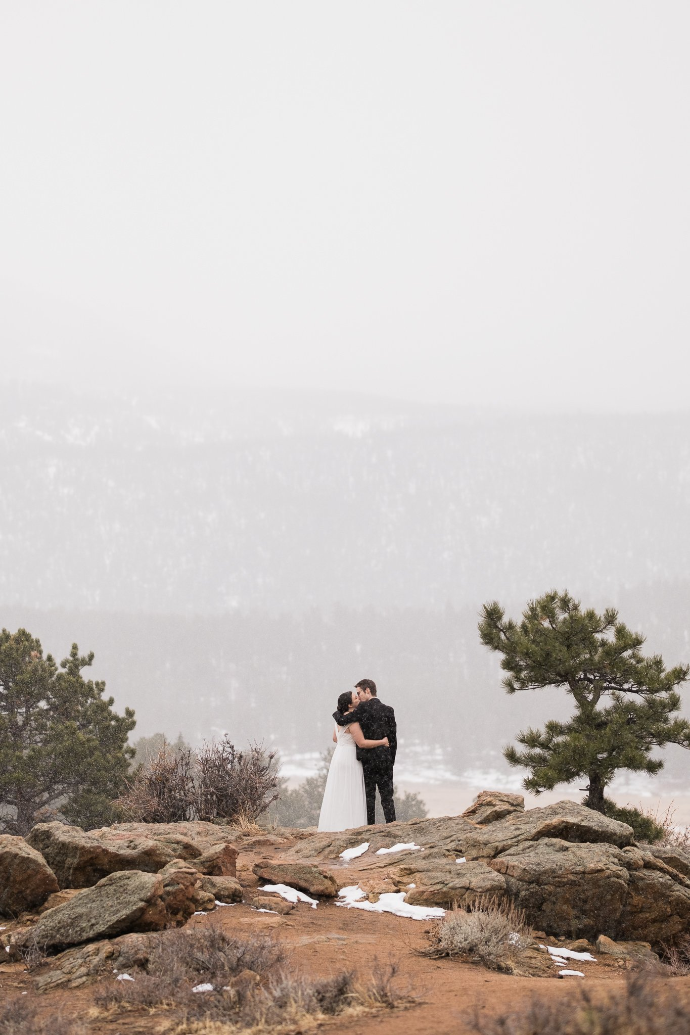 Winter elopement at 3M Curve in Colorado