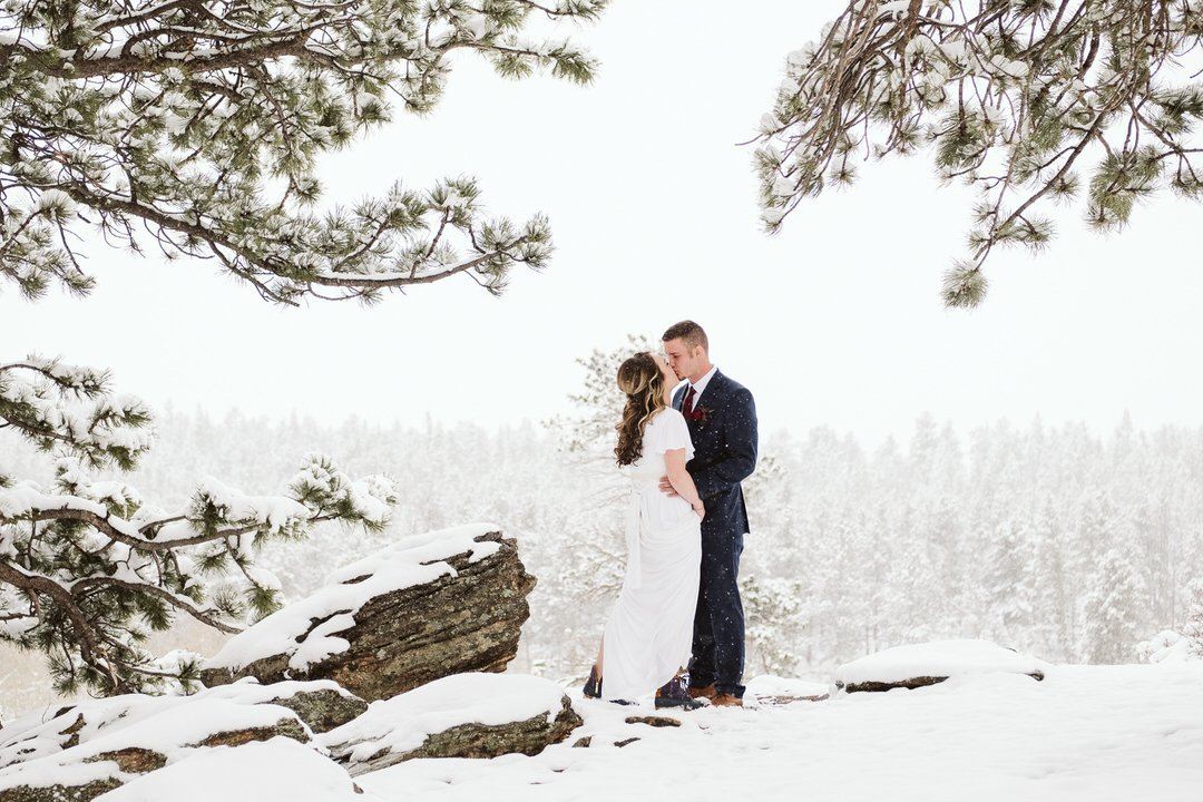 First look at winter elopement in Rocky Mountain National Park