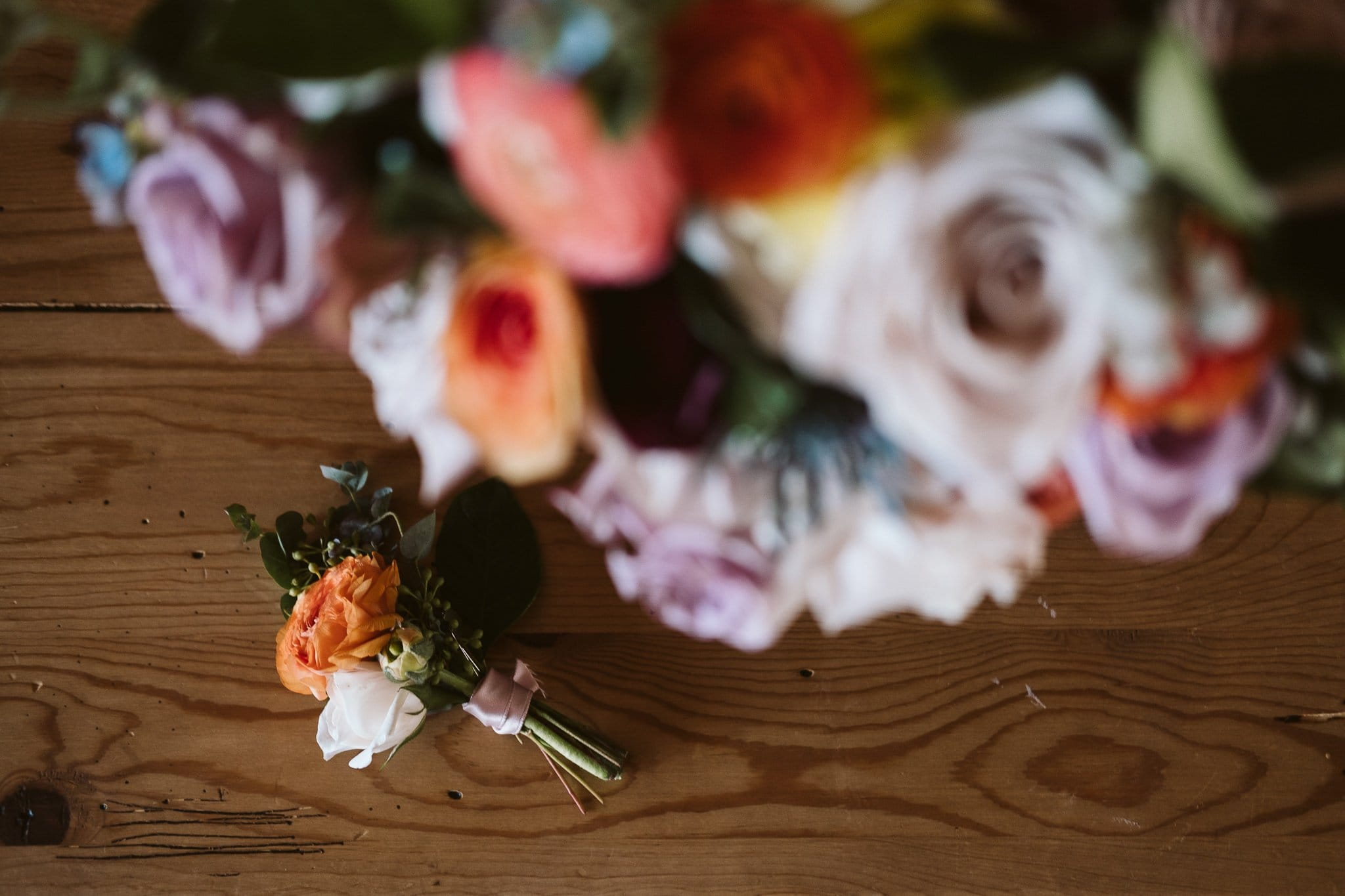 Spring color wedding bouquet and boutonniere by From the Ground Up Flowers